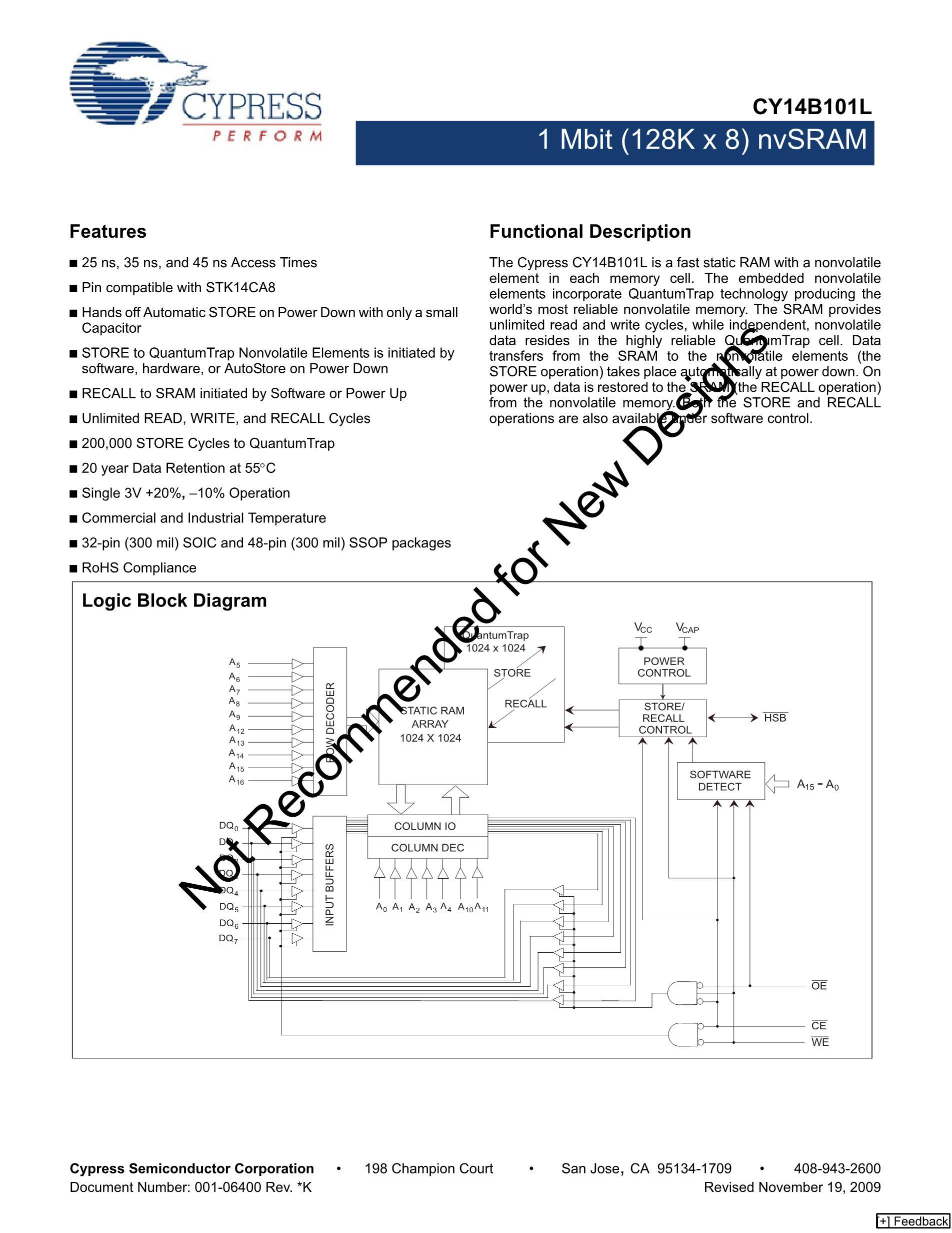 CY14B116L-Z45XI's pdf picture 1