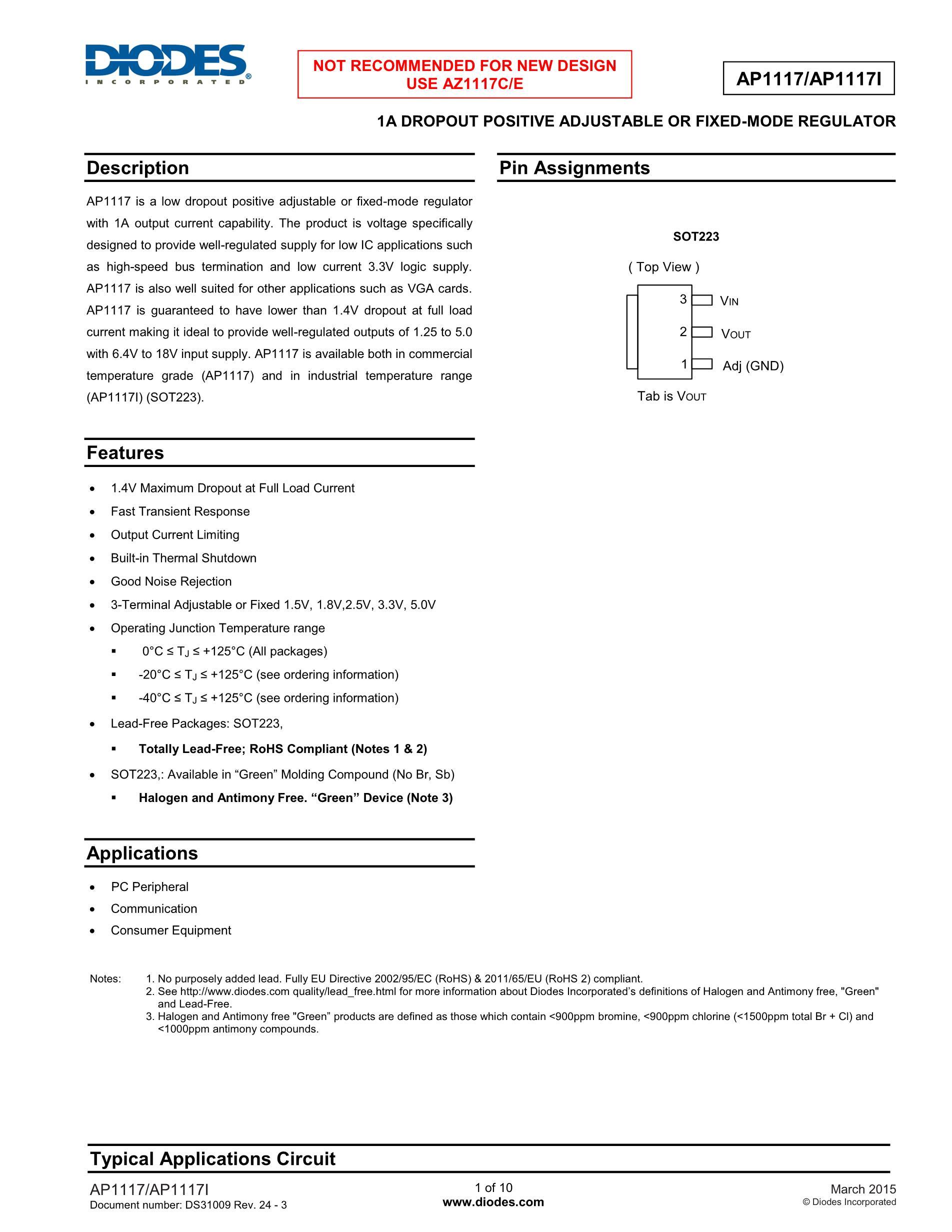 AP1117E50LA's pdf picture 1