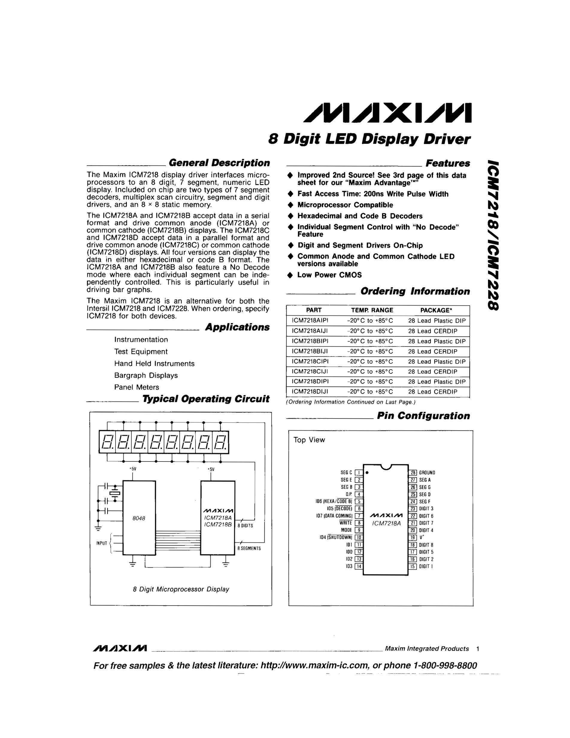 ICM7218AIPI's pdf picture 1
