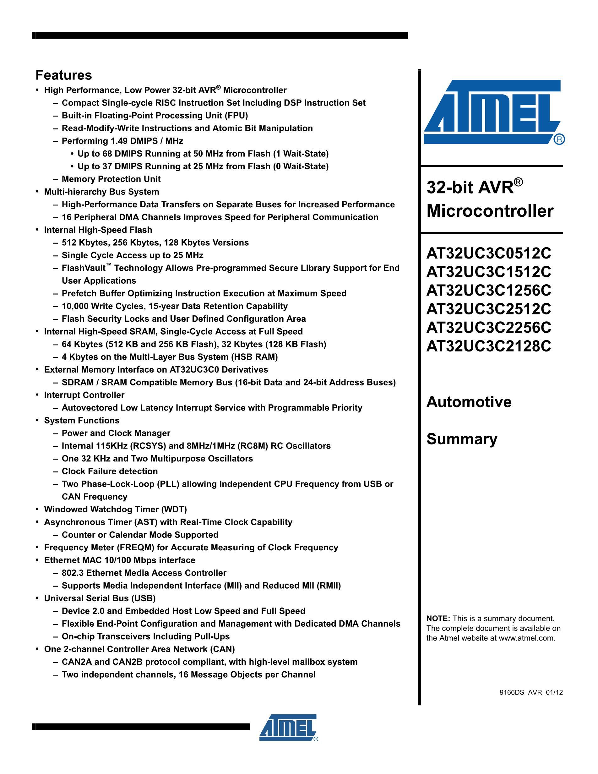 AT32UC3B0128-U's pdf picture 1