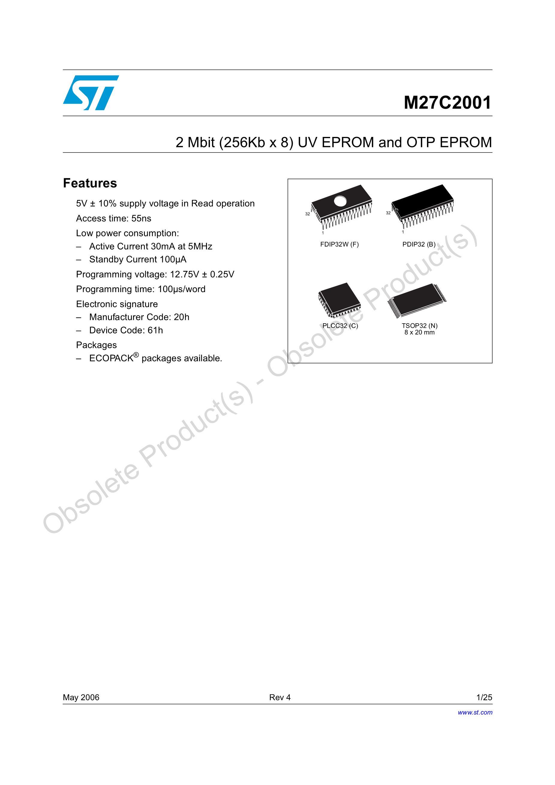 M27C512-20C6's pdf picture 1