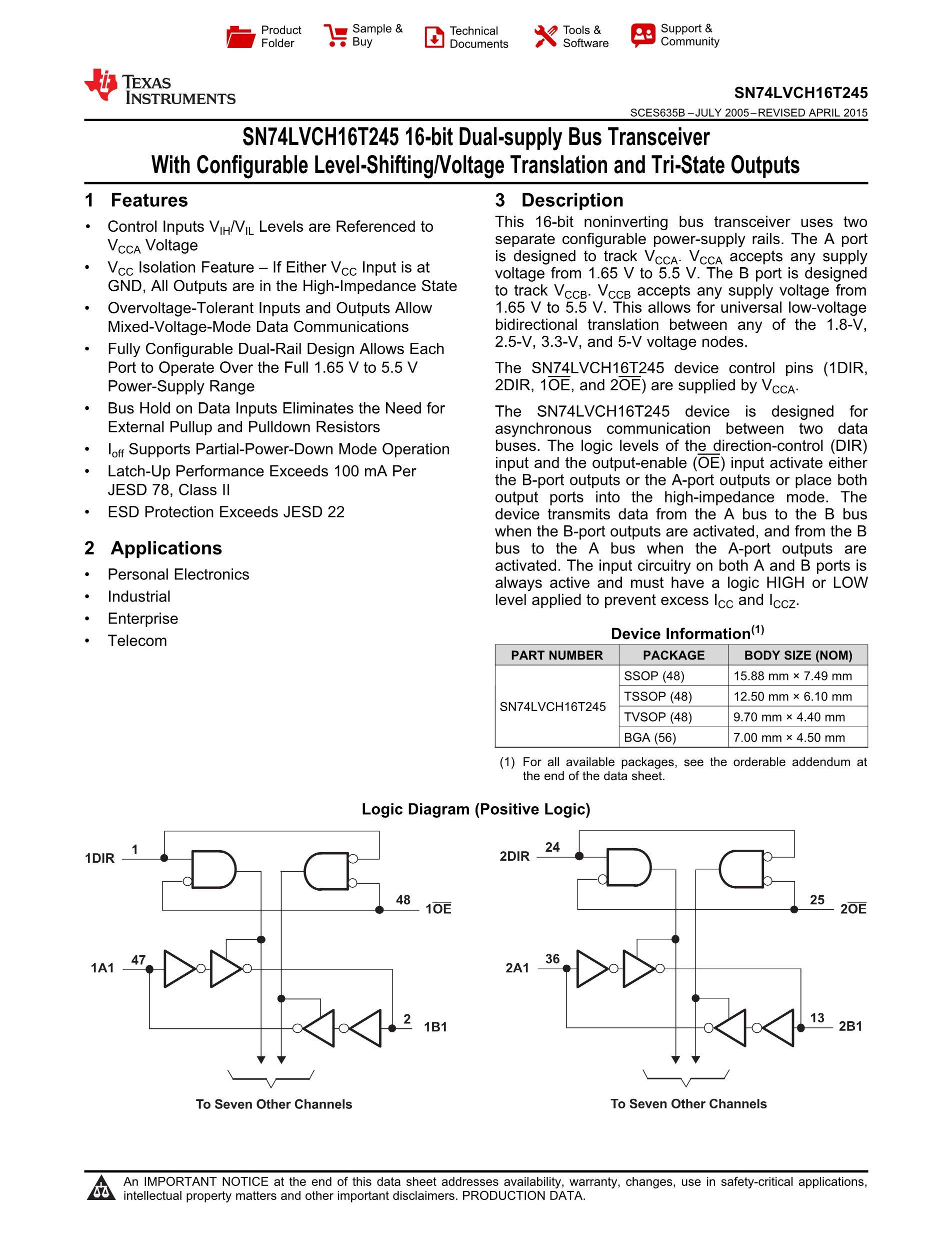 74LVCH16T245ZQLR's pdf picture 1