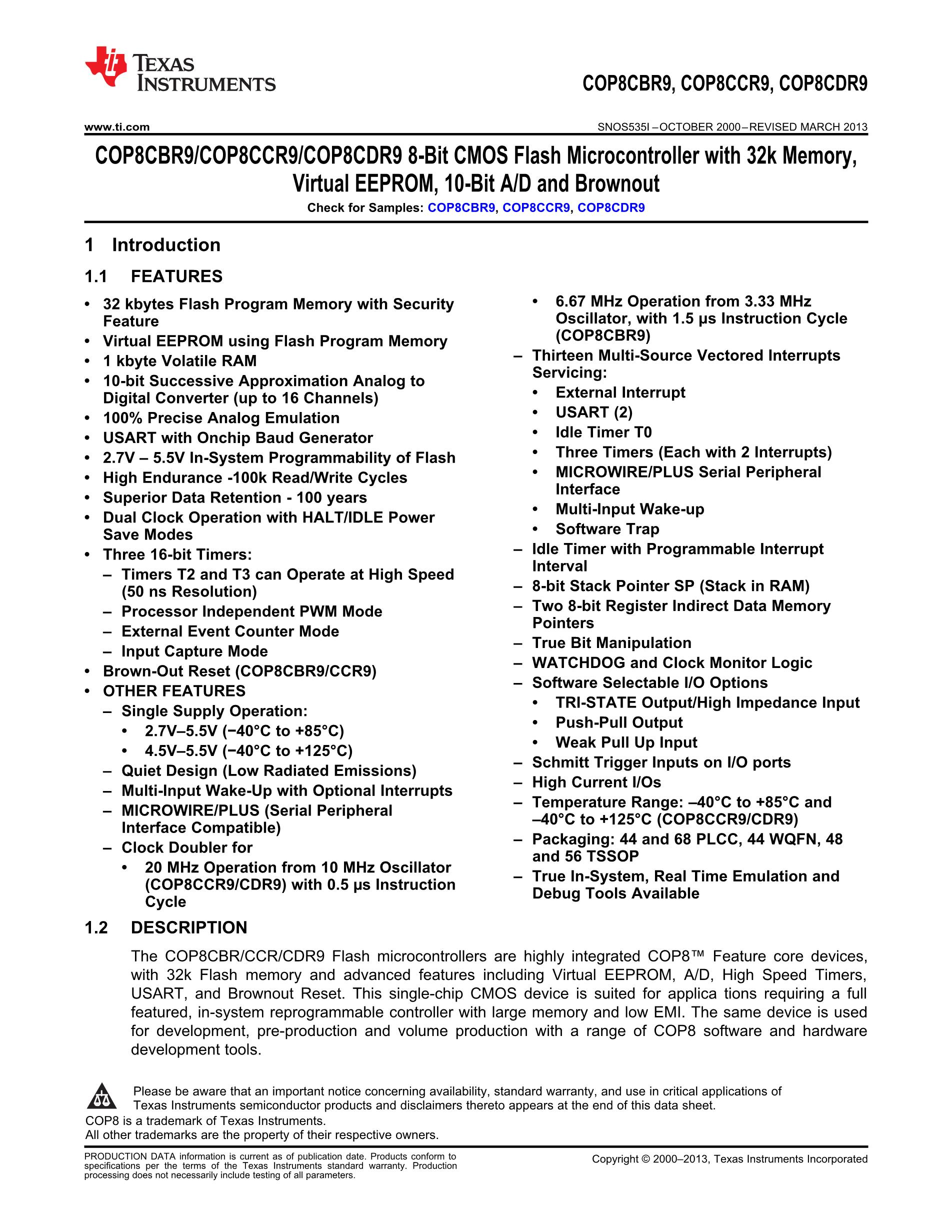 COP8SAA720N9B's pdf picture 1