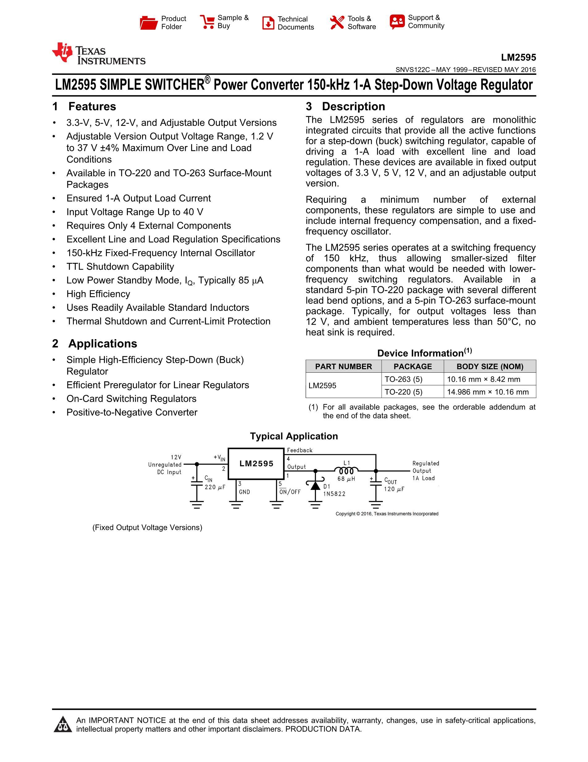 LM2595SX-5.0/NOPB's pdf picture 1