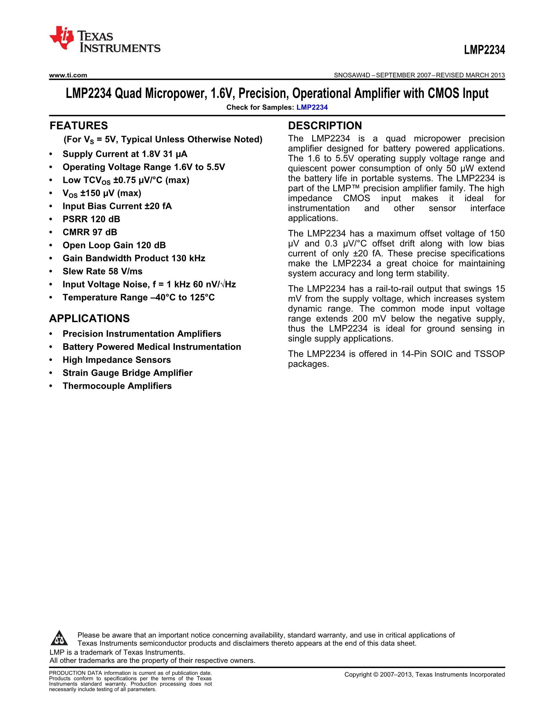 LMP2234AMTX's pdf picture 1