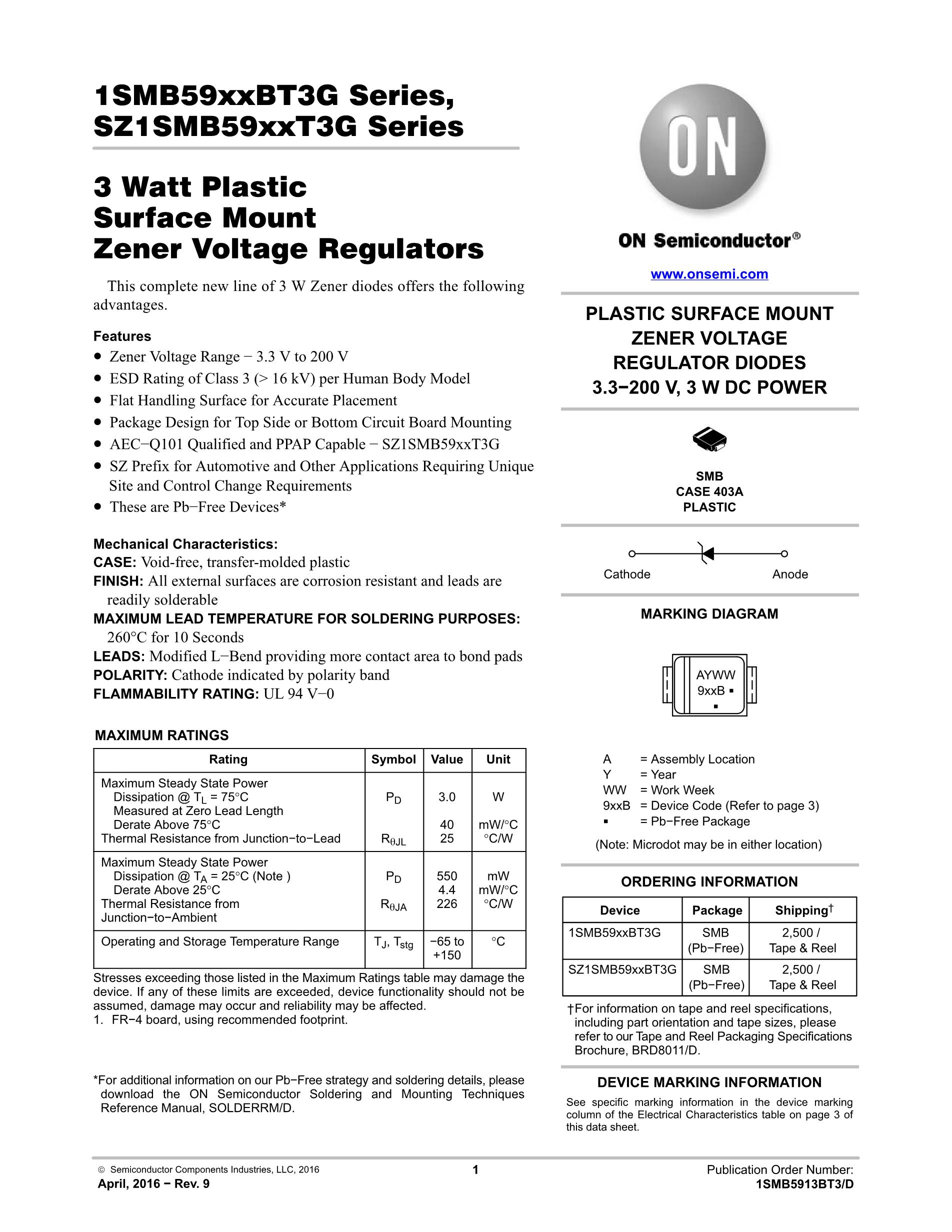 1SMB5940BT3G's pdf picture 1