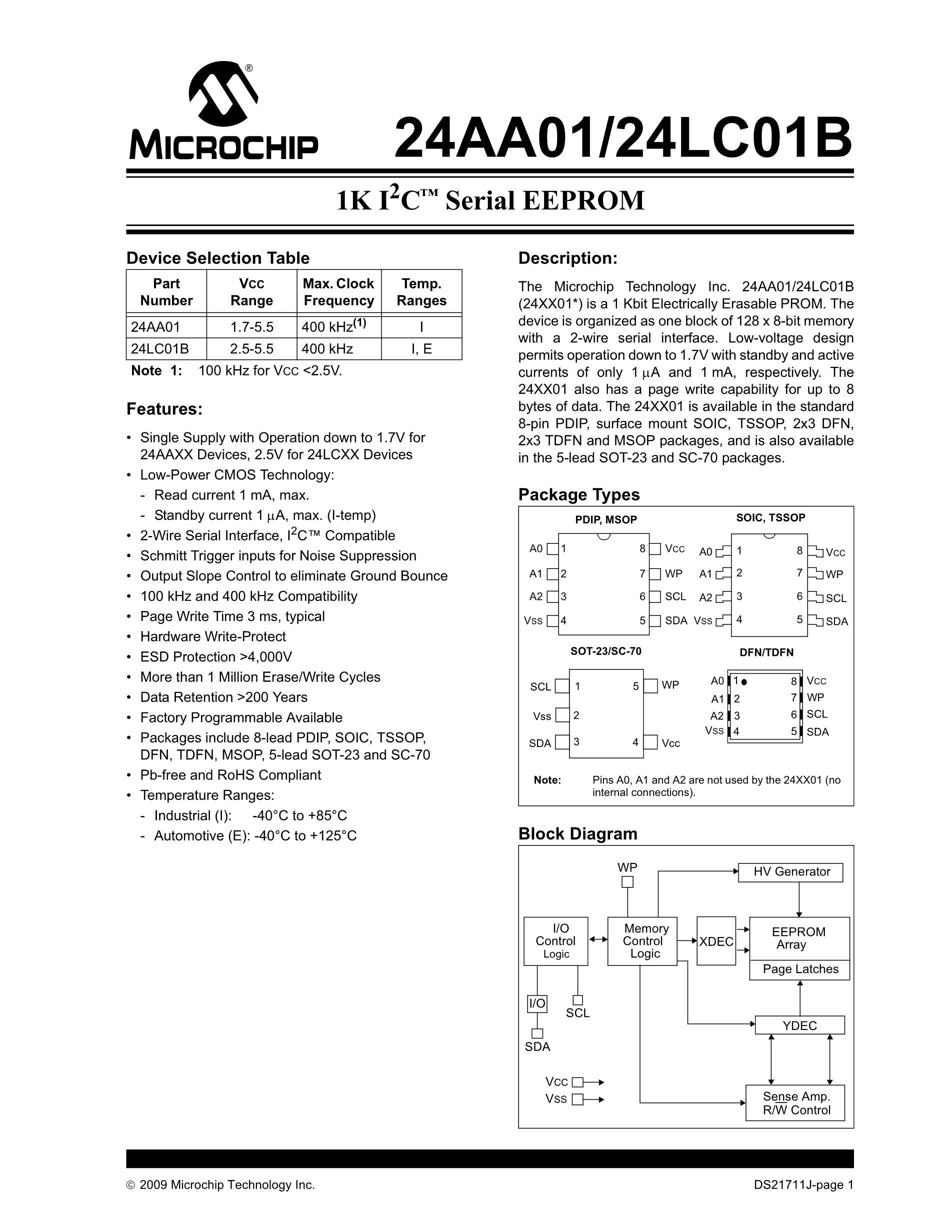 24LC21CBP/P's pdf picture 1