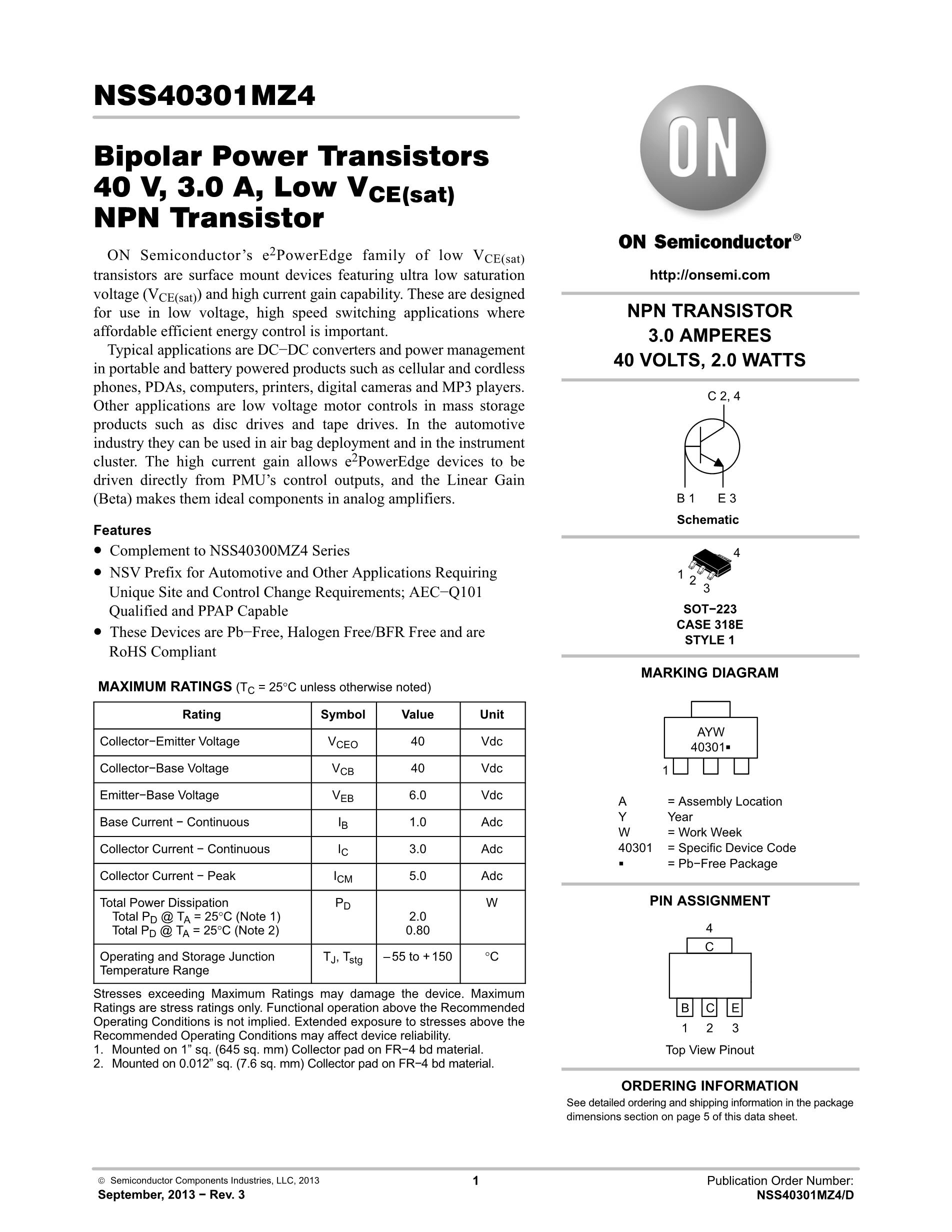 NSS40300MZ4T3G's pdf picture 1