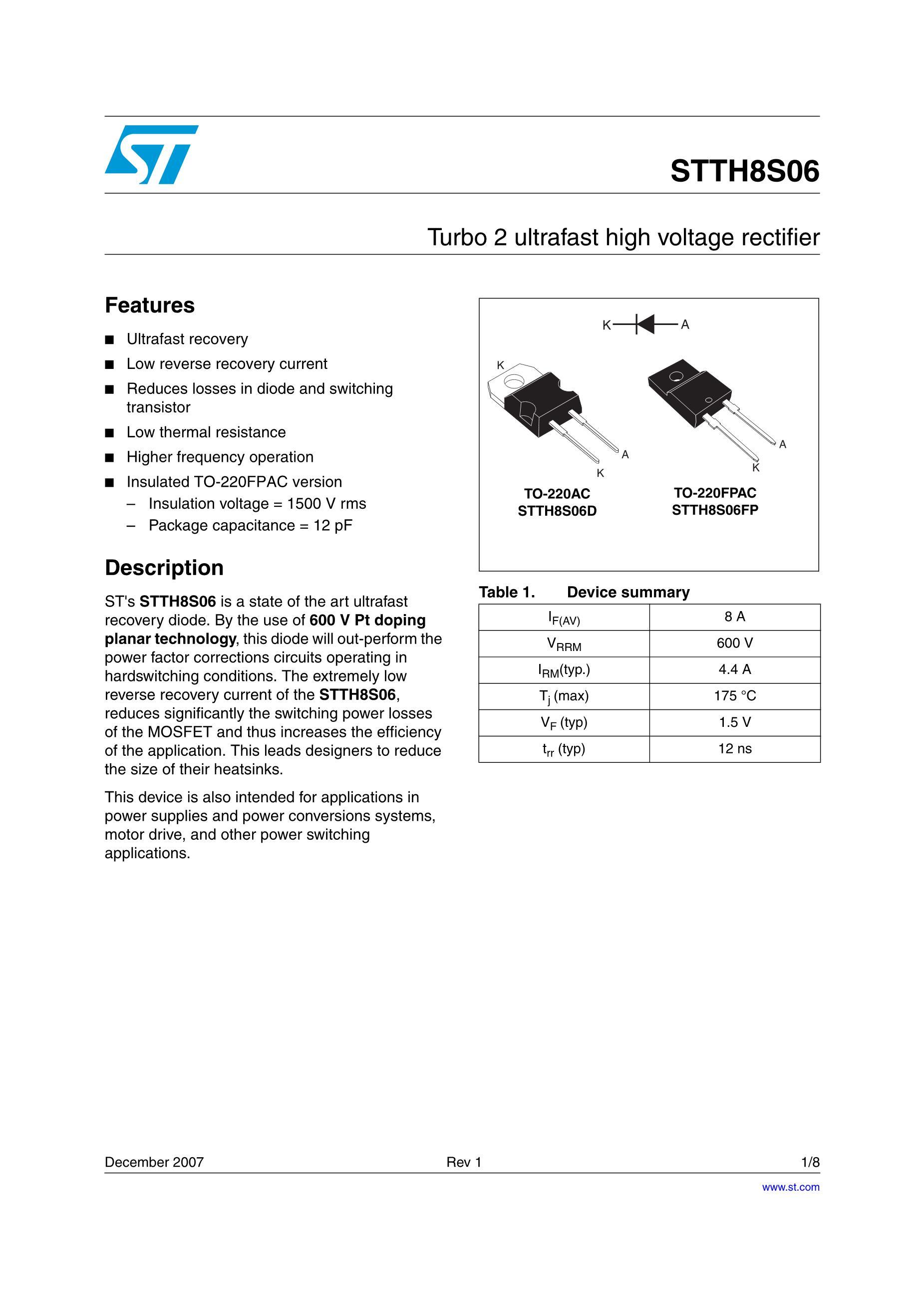 STTH120L06TV1's pdf picture 1