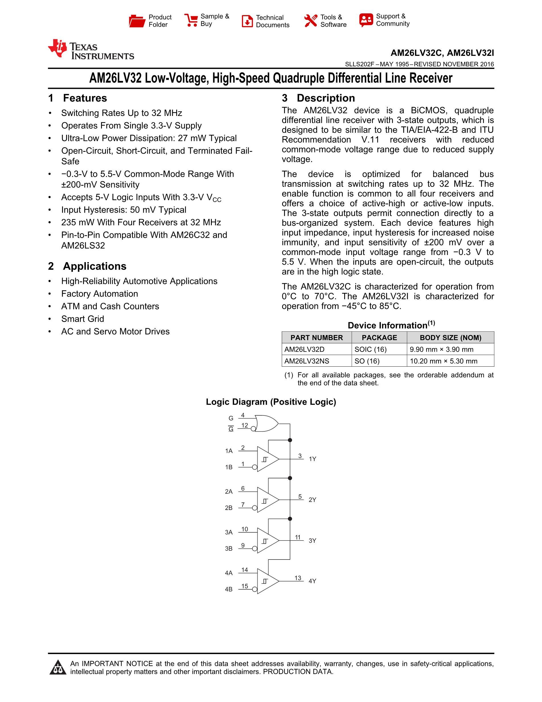 AM26LV32CD's pdf picture 1