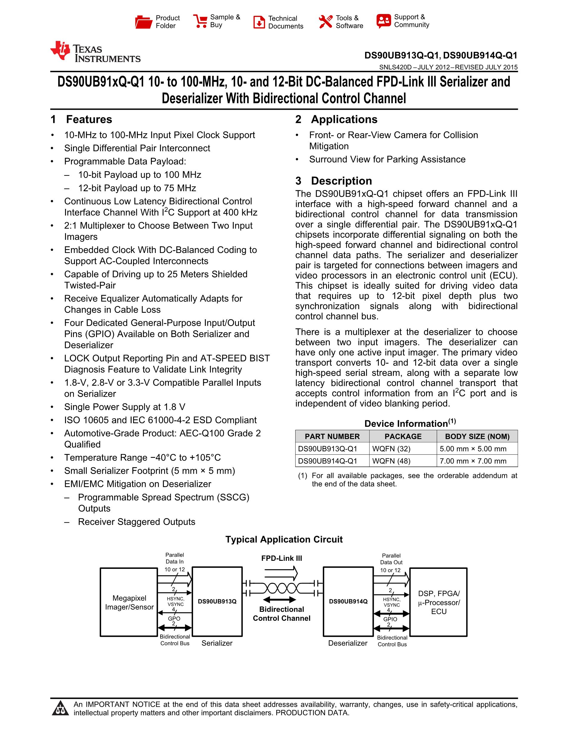 DS90UB913QSQE/NOPB's pdf picture 1