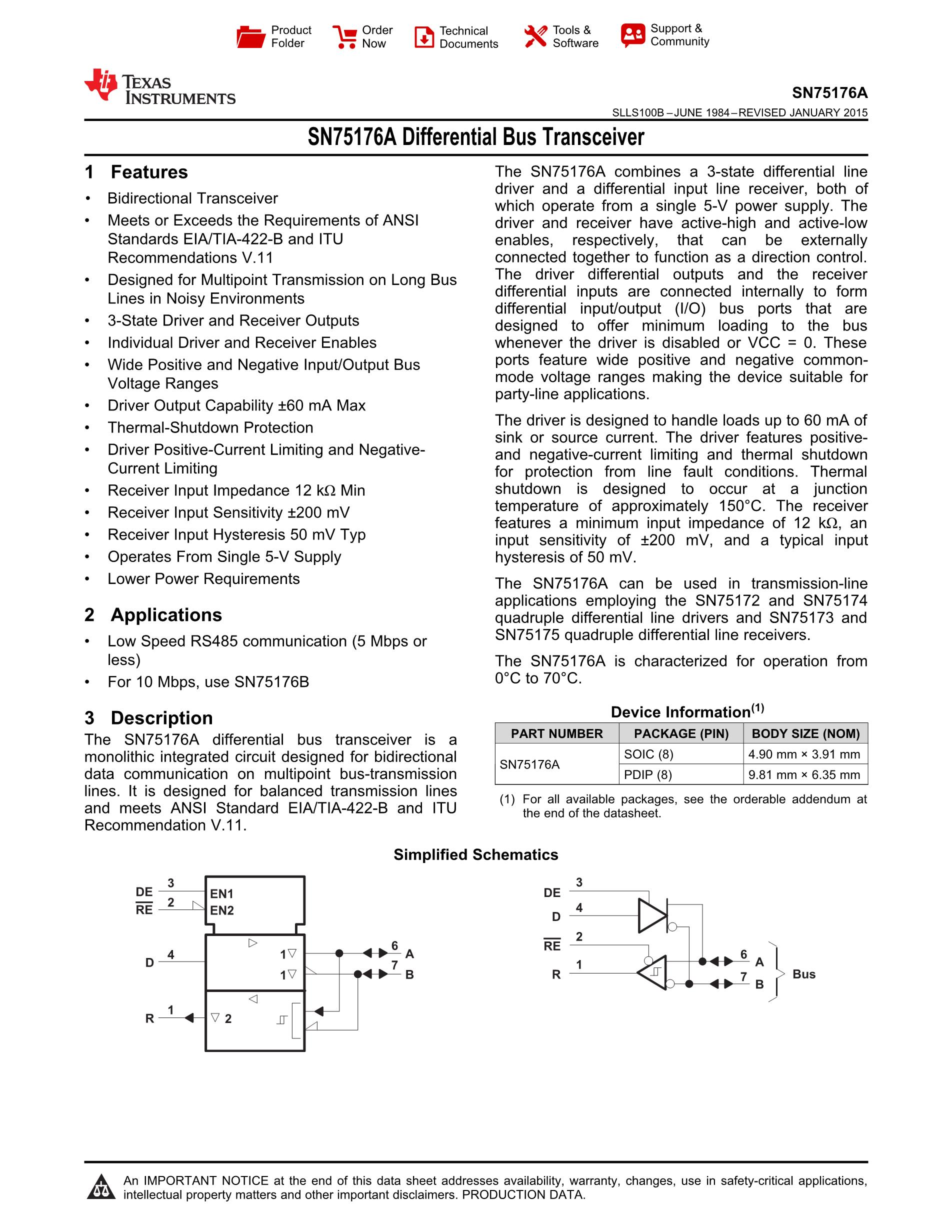 SN75176AD's pdf picture 1