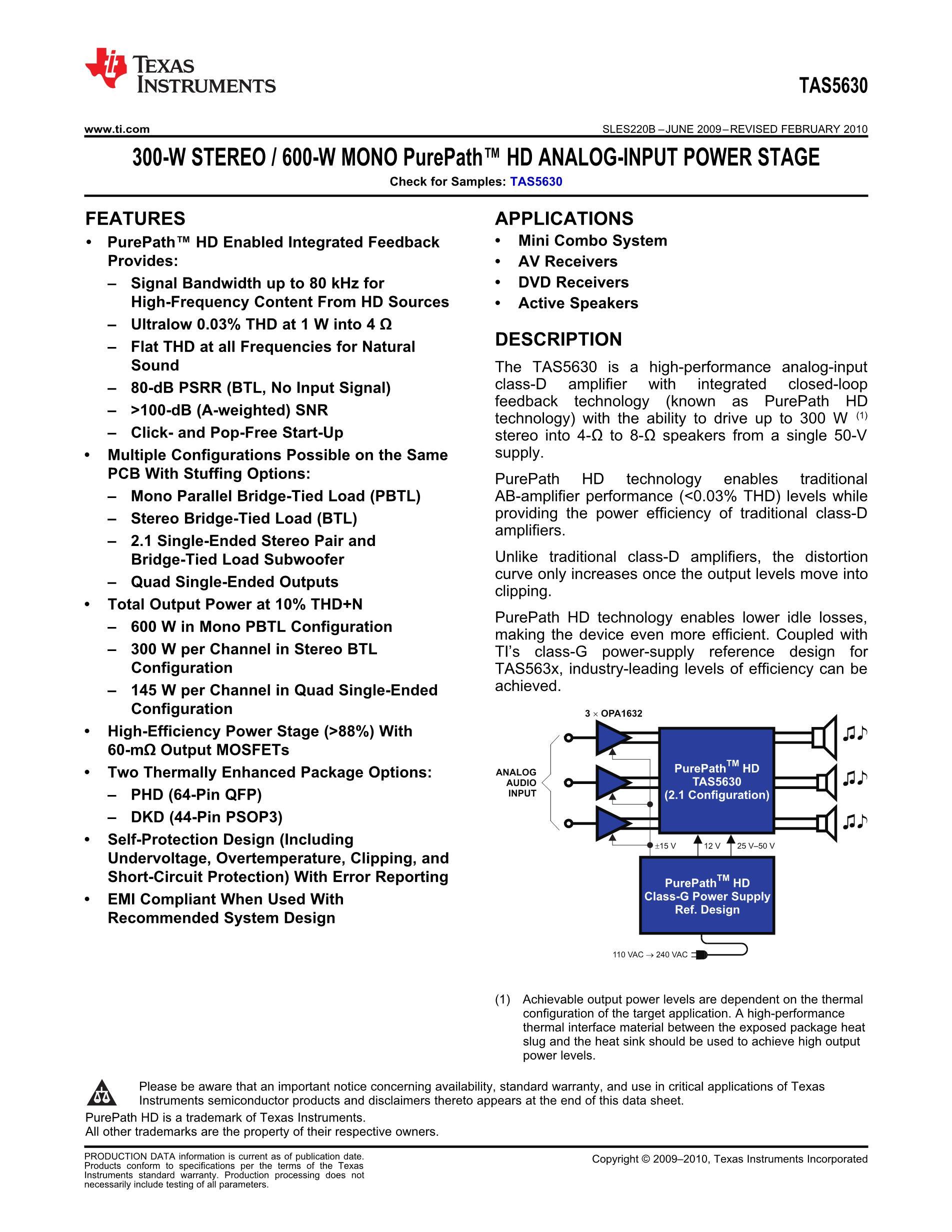 TAS5036BPFCG4's pdf picture 1