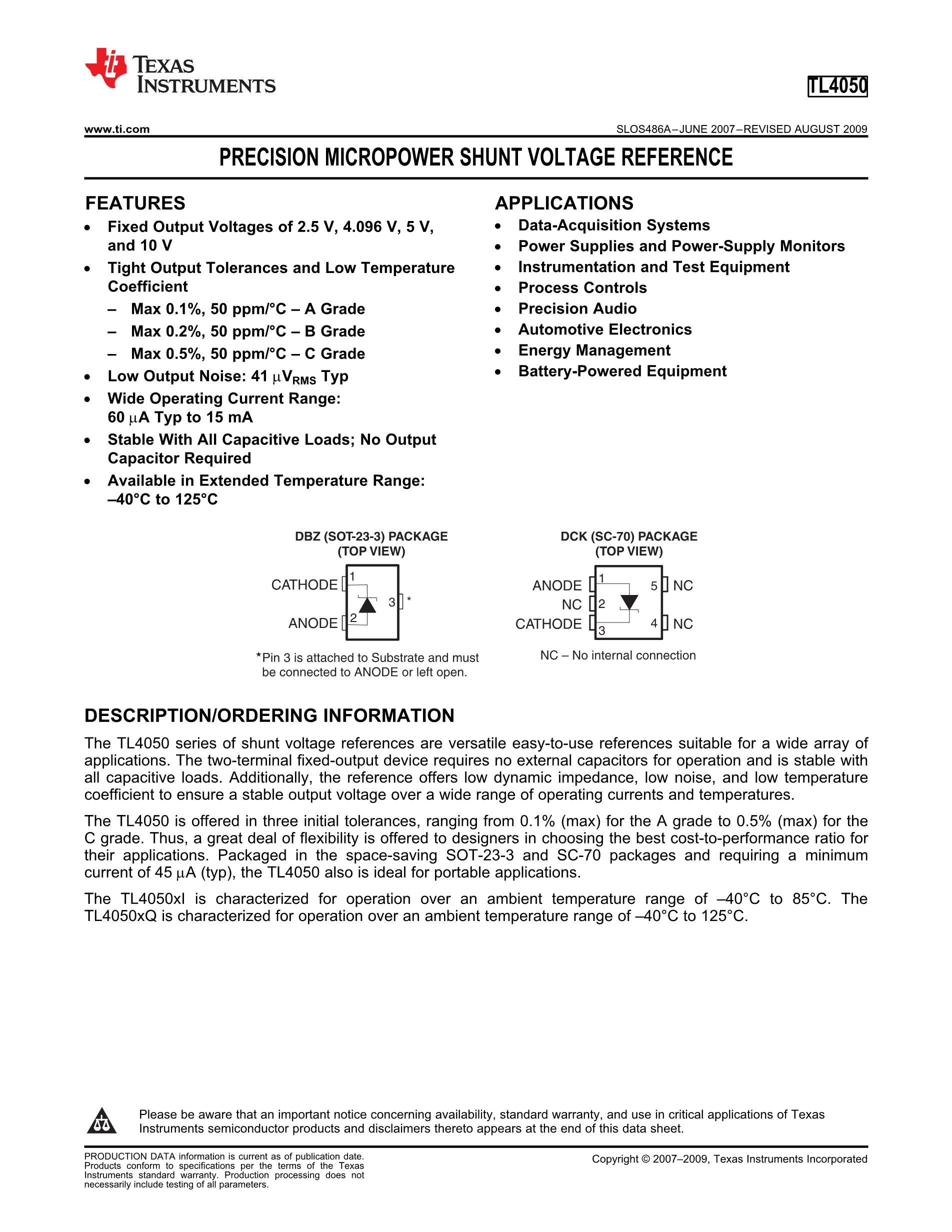 TL4050C25IDCKR's pdf picture 1