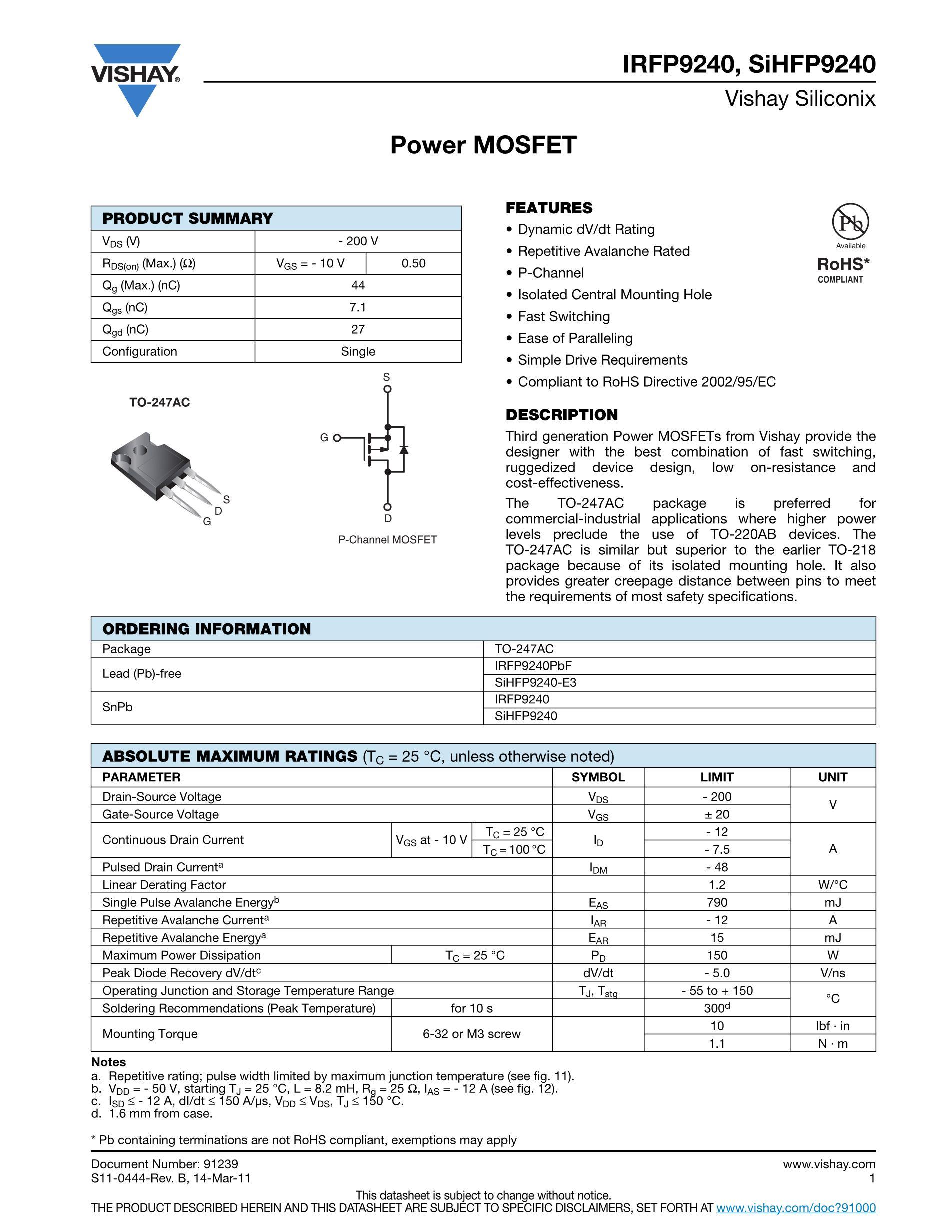 IRFP9240's pdf picture 1