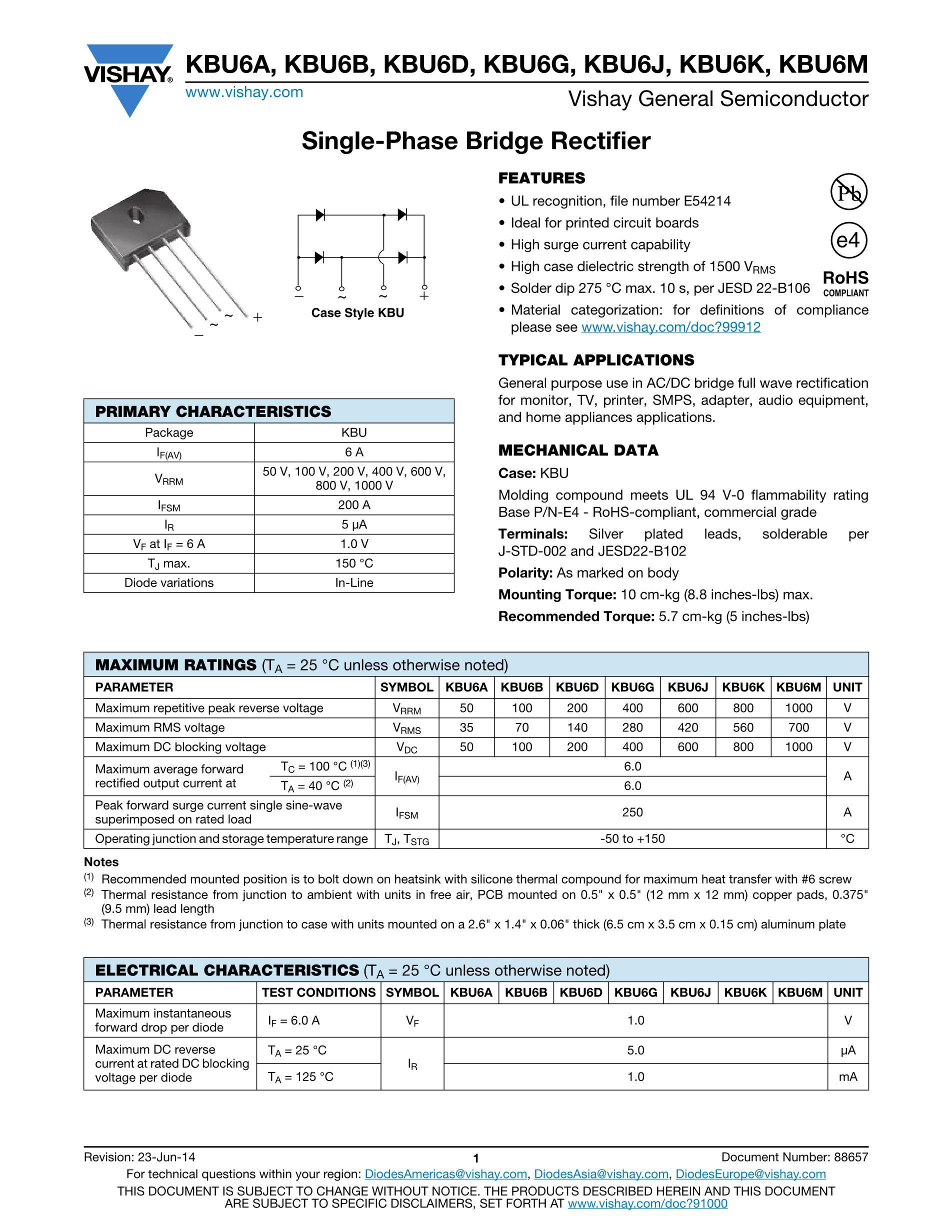 KBU1010  10A 1000V 's pdf picture 1