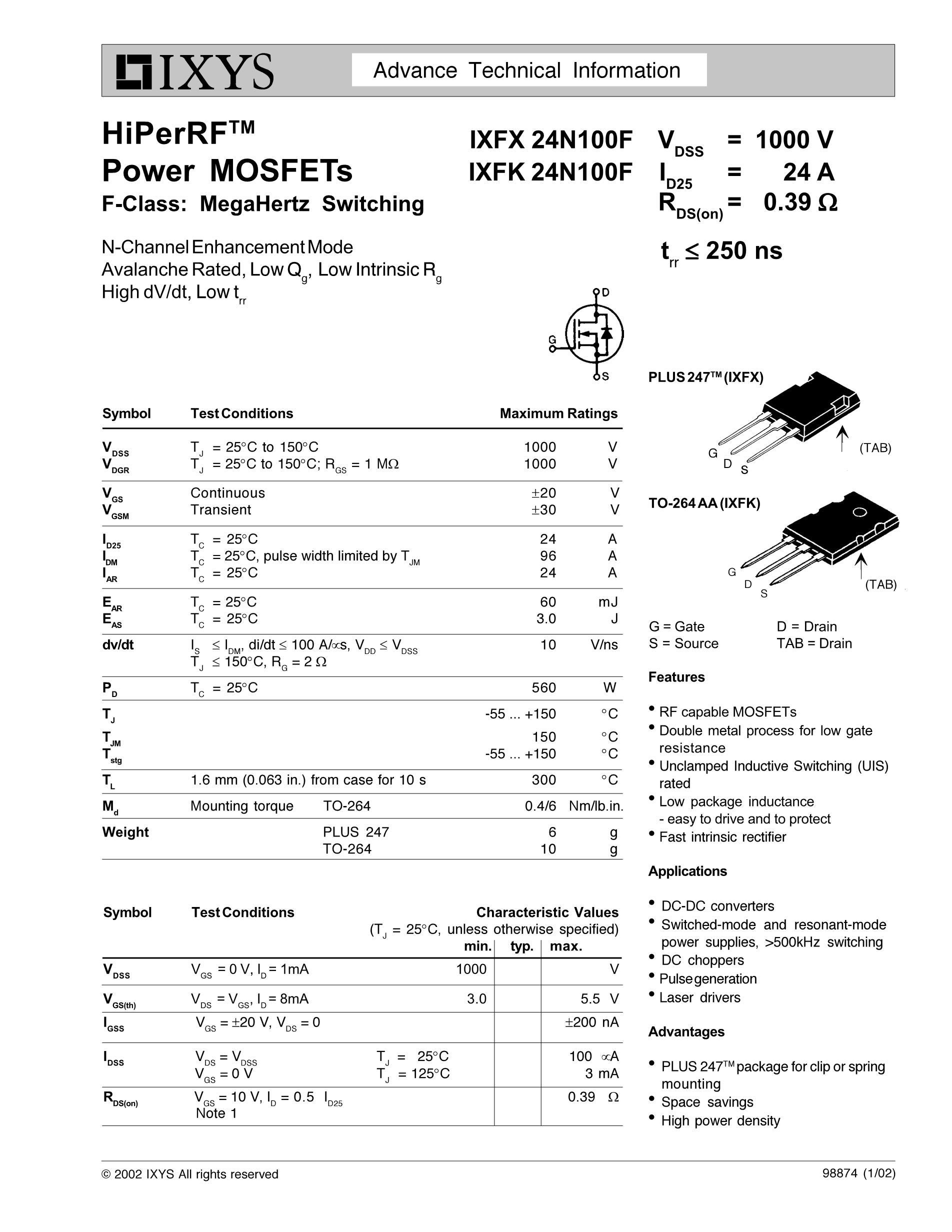 IXFK102N30P's pdf picture 1