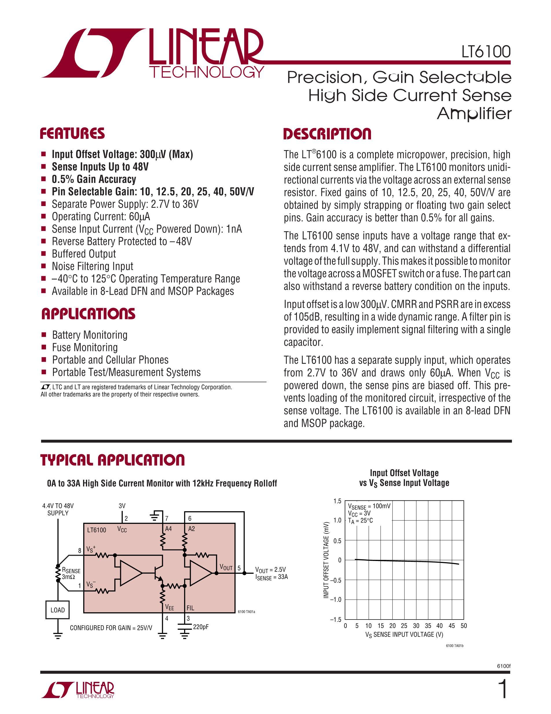 LT6108AIMS8-1#PBF's pdf picture 1