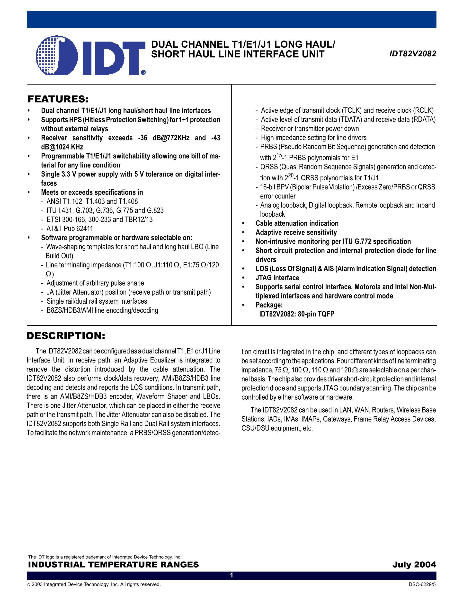 IDT8535-01PGG8's pdf picture 1