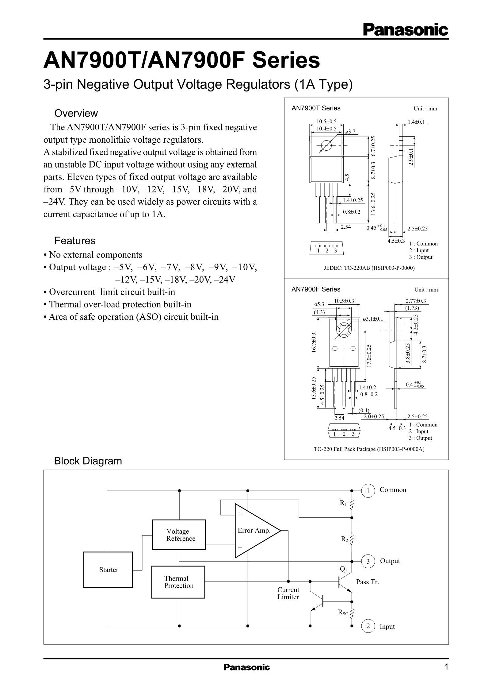 AN79L10M/BA's pdf picture 1