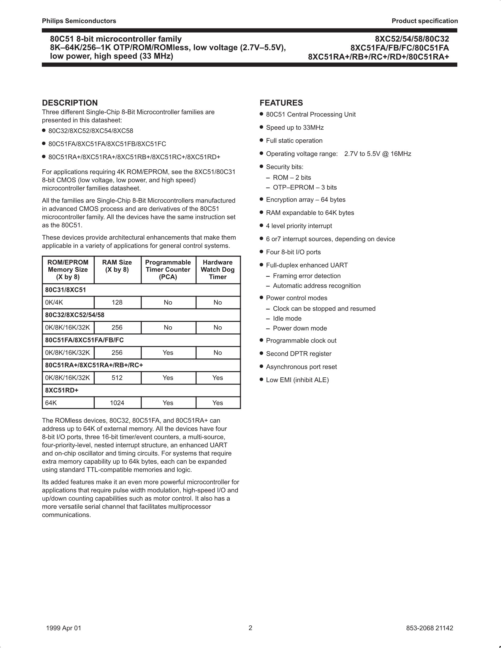 P87C541BAA's pdf picture 2