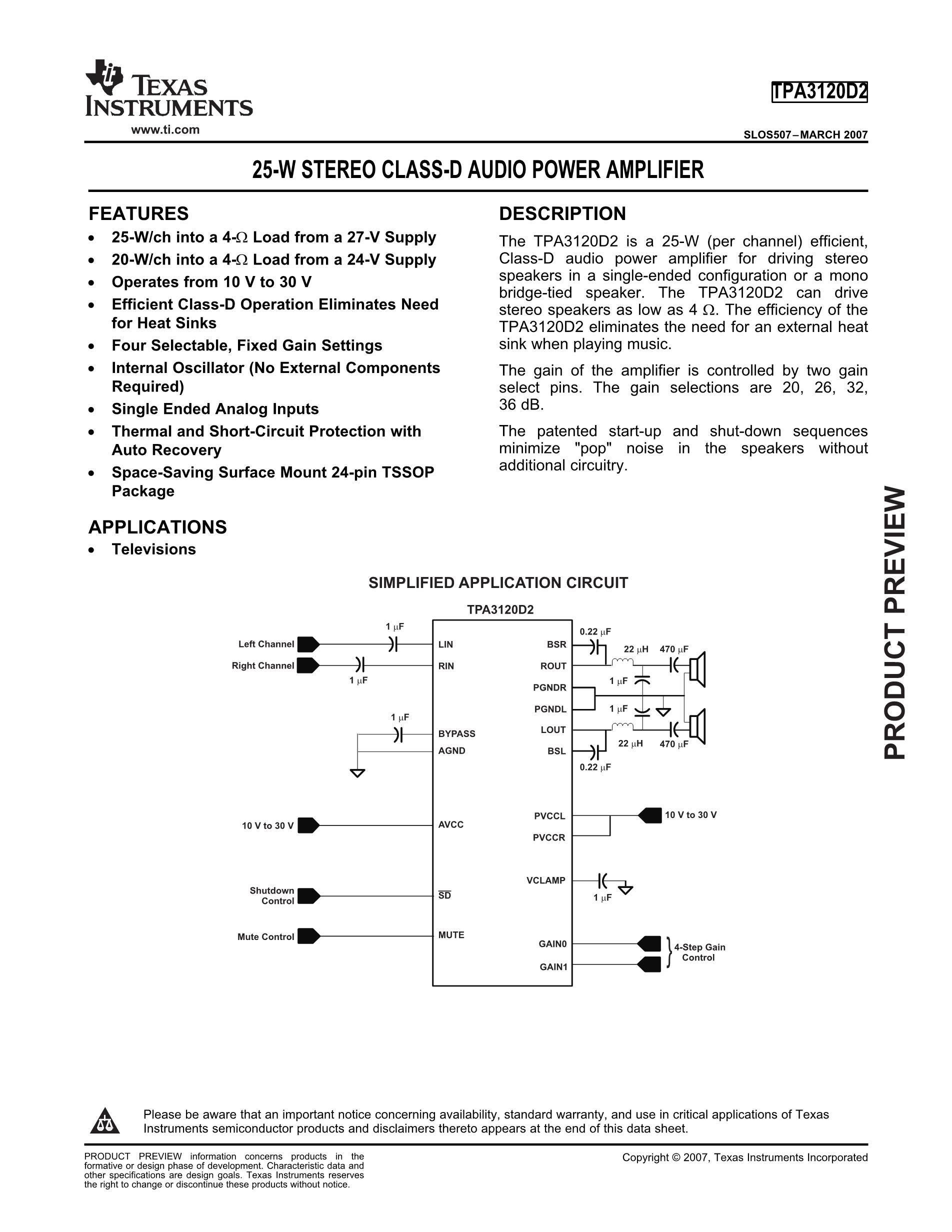 TPA3100D2RGER's pdf picture 1