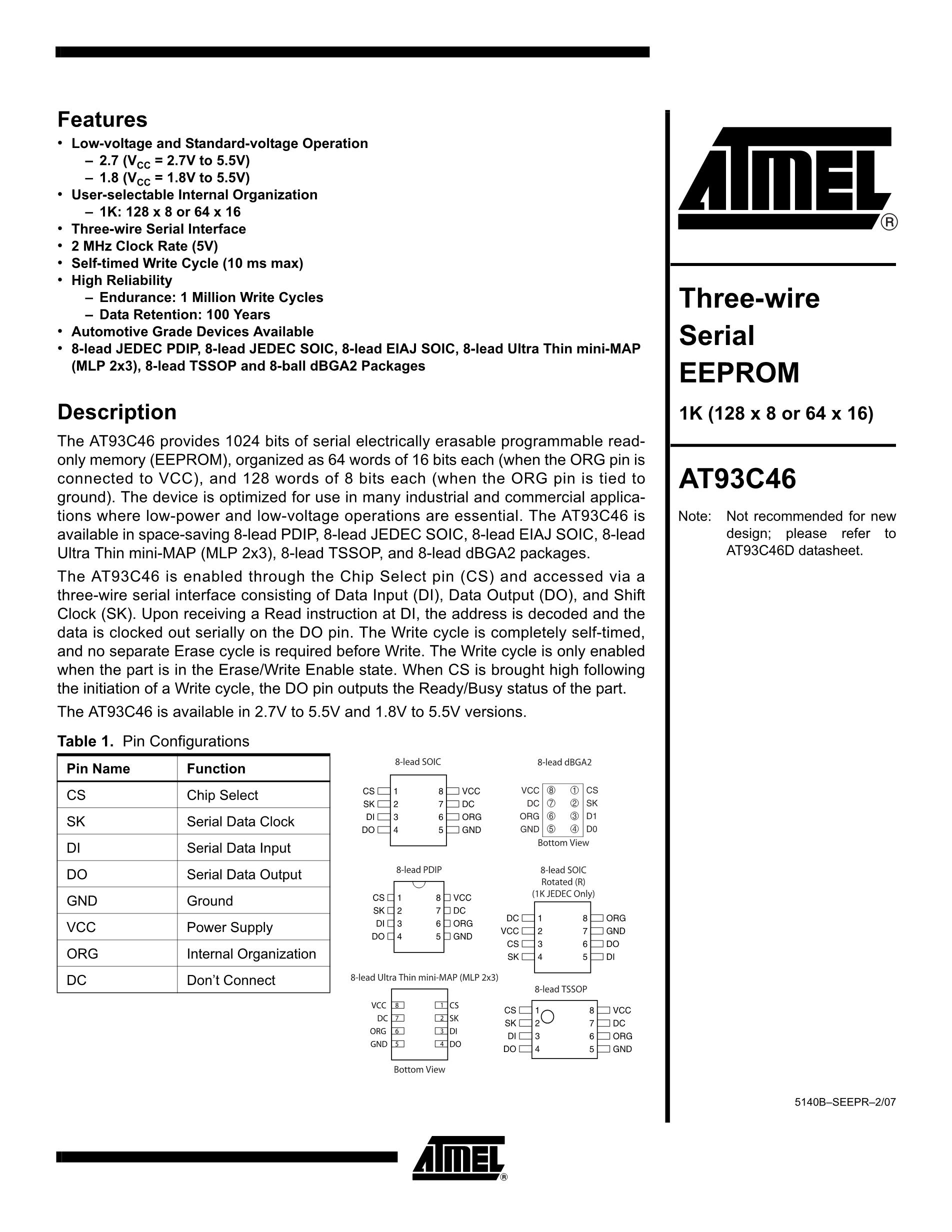 AT93C46A10SC-2.7's pdf picture 1