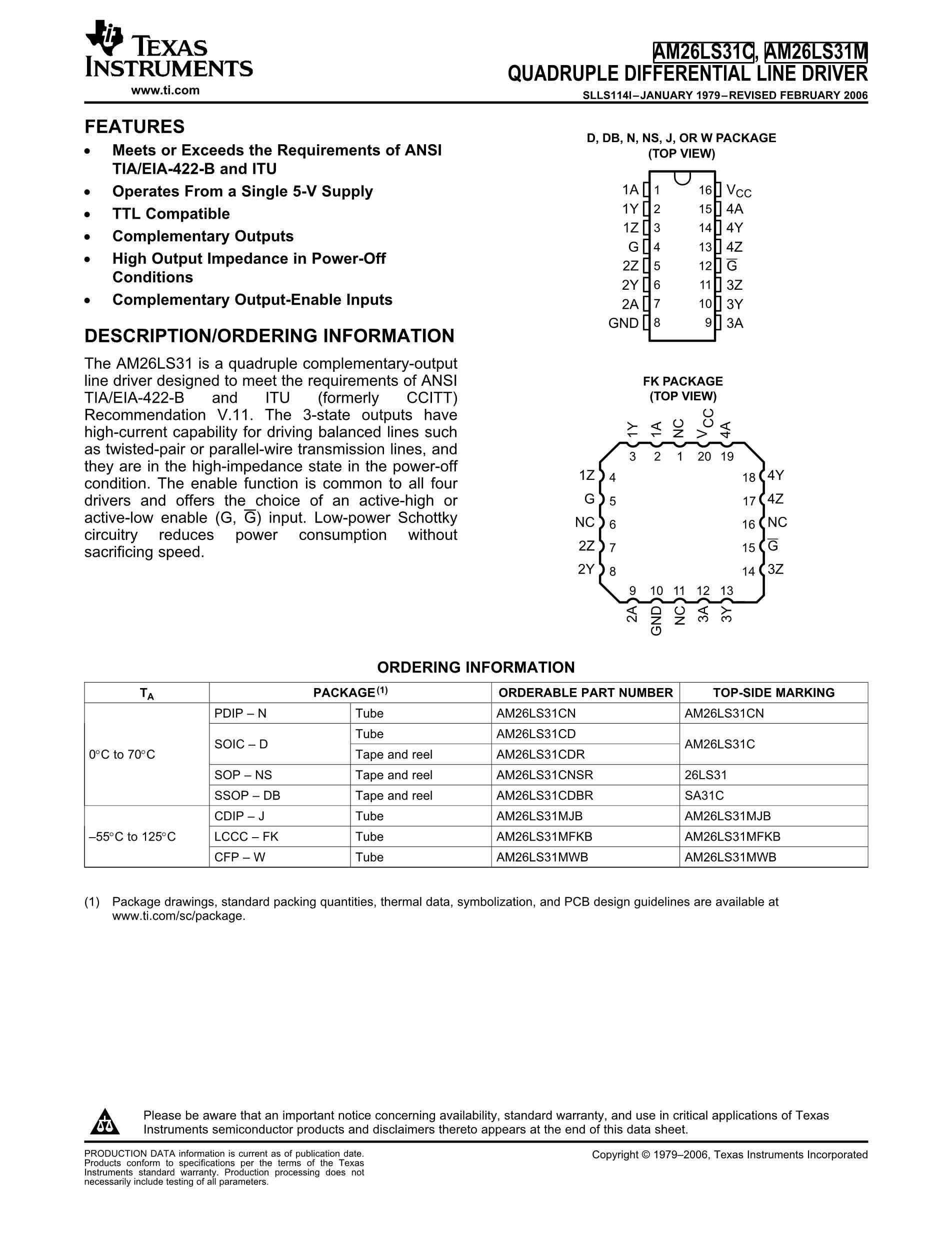 AM26L31SL's pdf picture 1