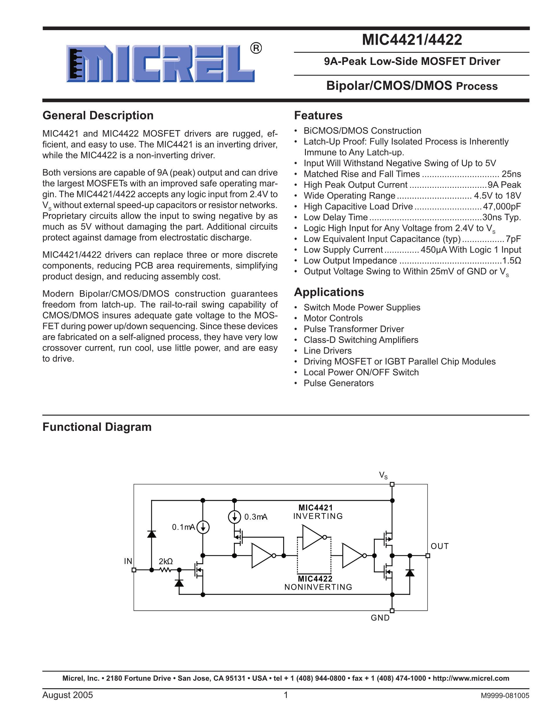 MIC4420BMM's pdf picture 1