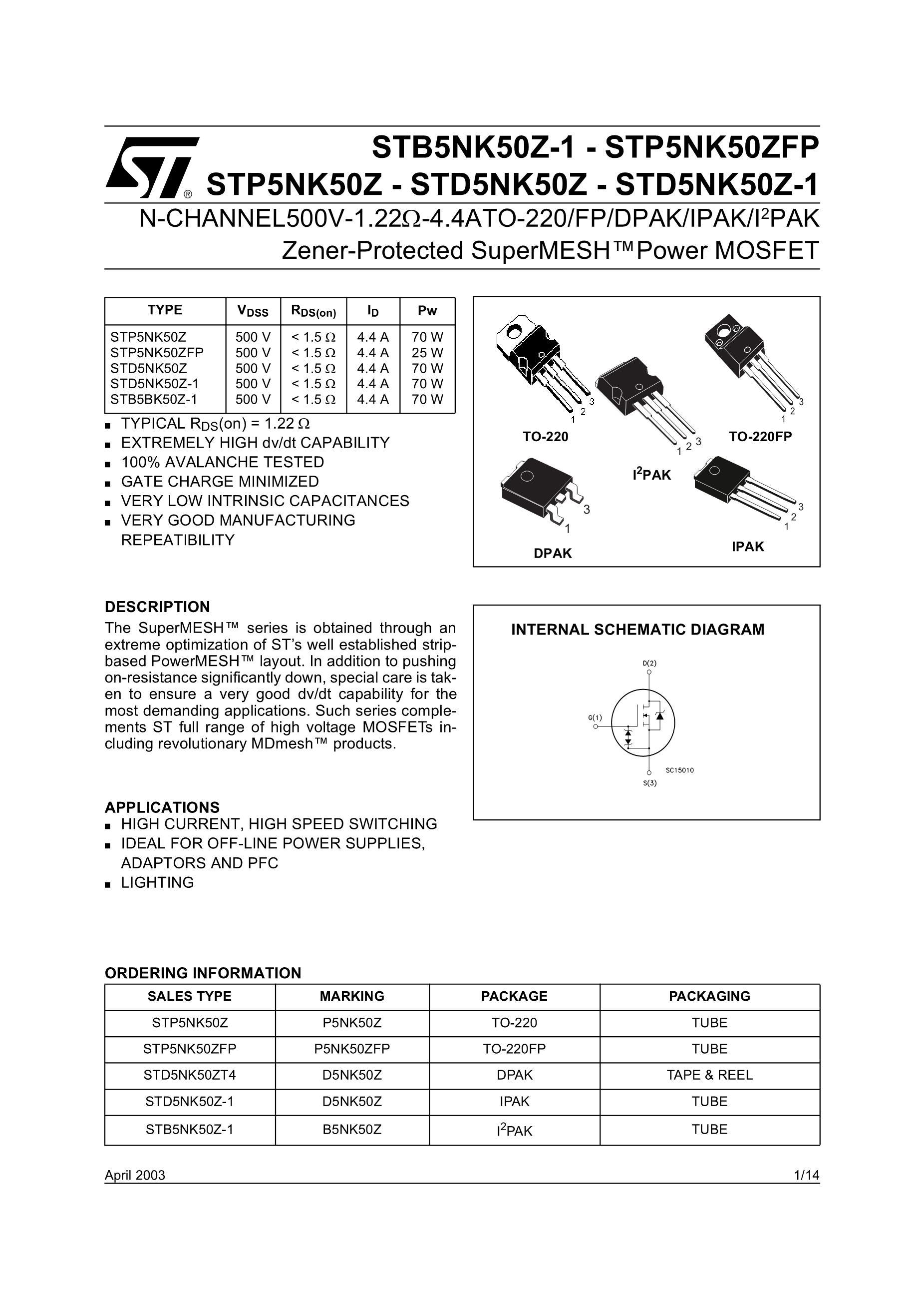 STD5NK50ZT4 STK830D's pdf picture 1