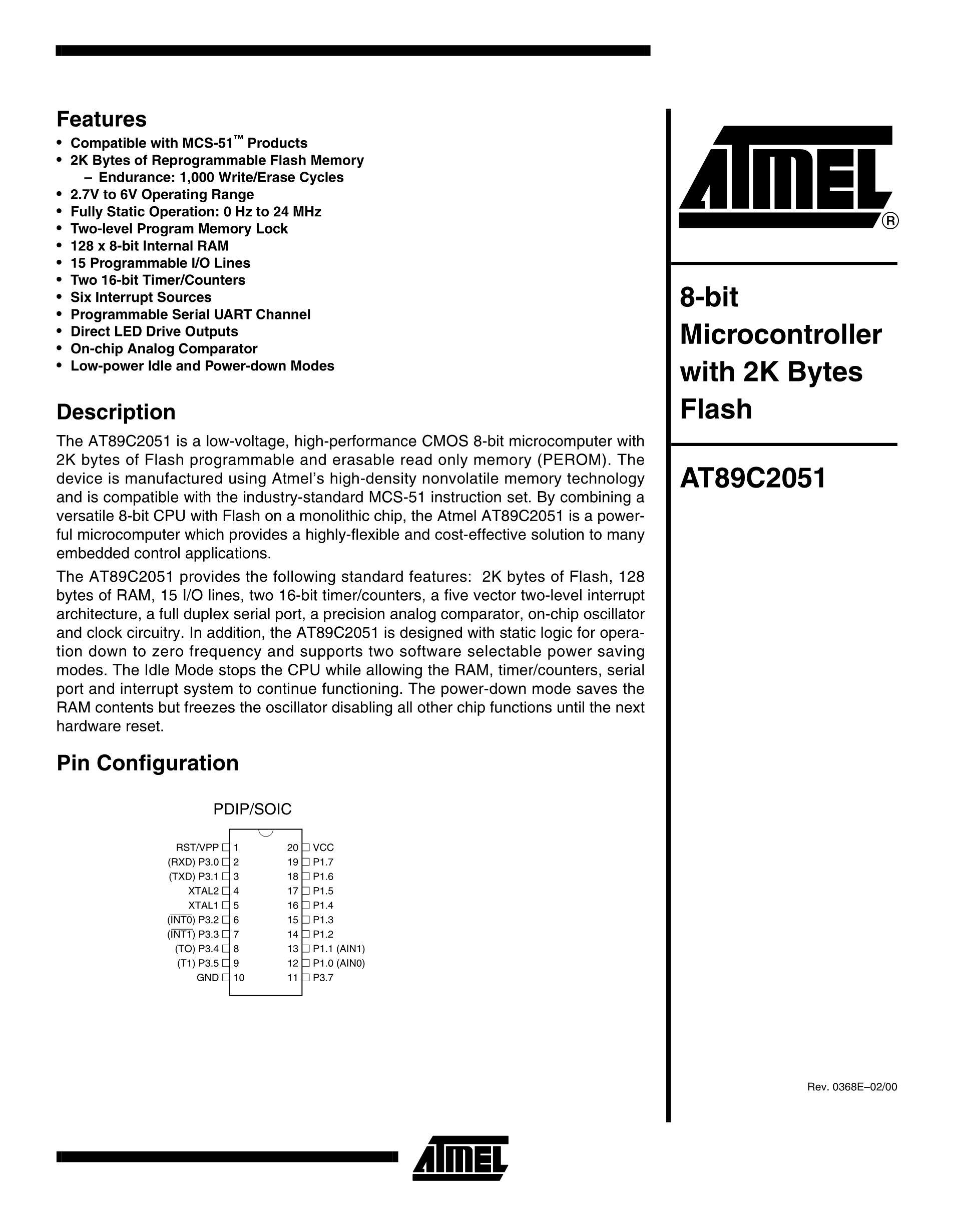 AT89C4051-24SC's pdf picture 1