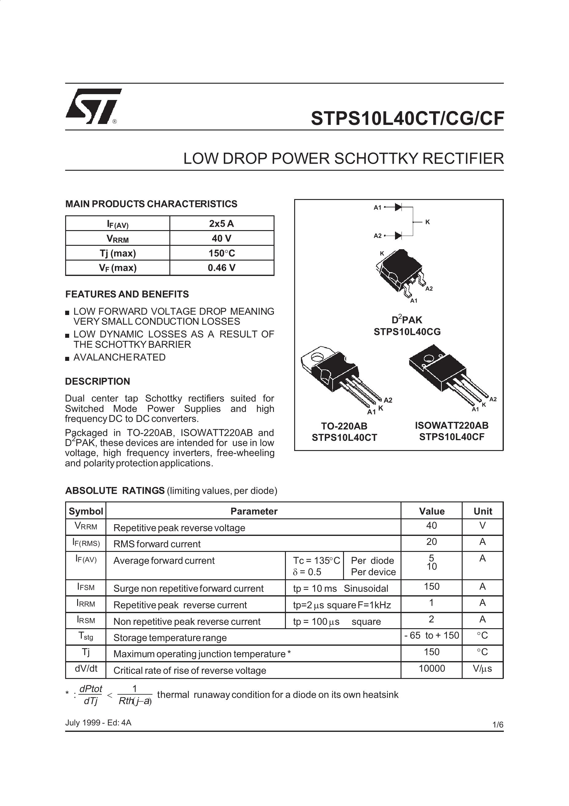 STPS80L10TV's pdf picture 1