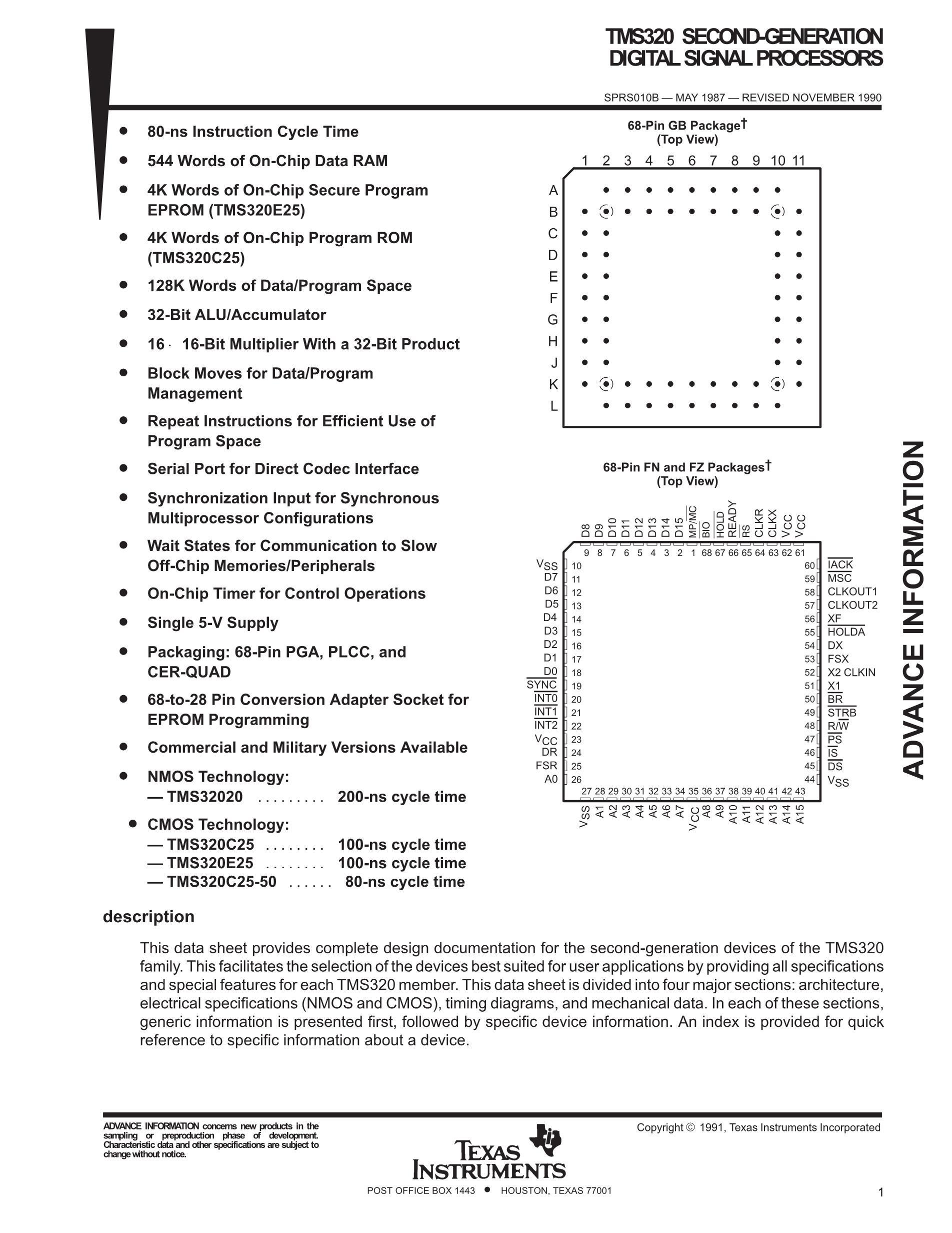 TMS320LBC51PQA57's pdf picture 1