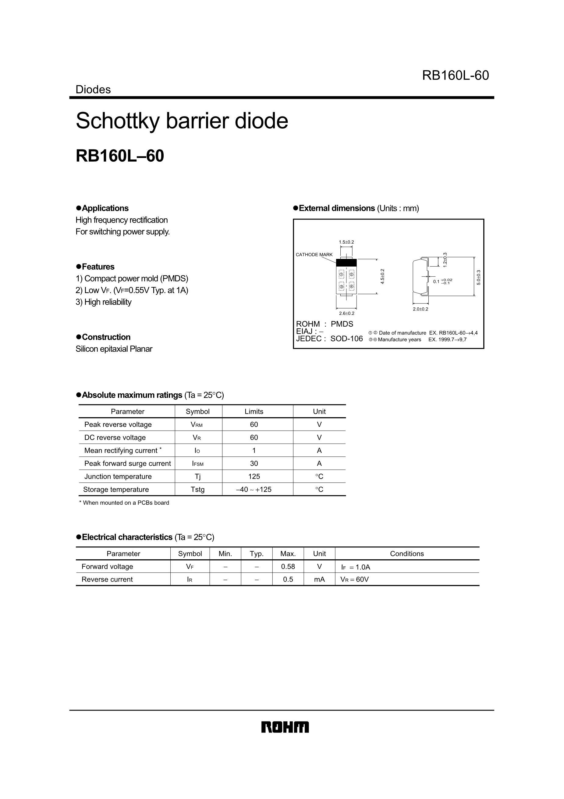 RB160VAM-60TR's pdf picture 1
