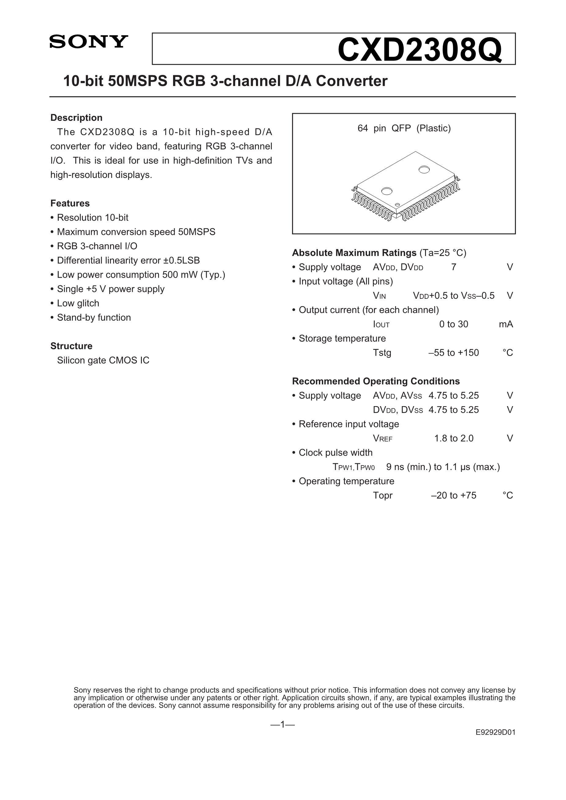 CXD3711GG 's pdf picture 1