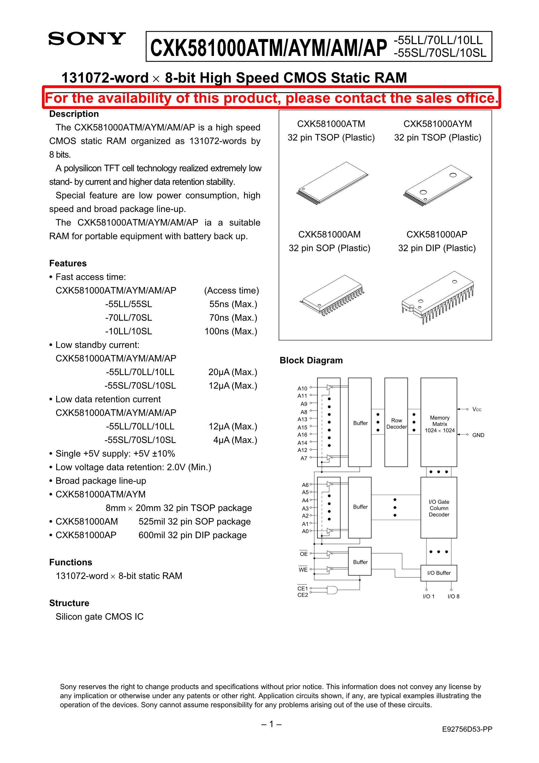 CXK5864PN-15's pdf picture 1