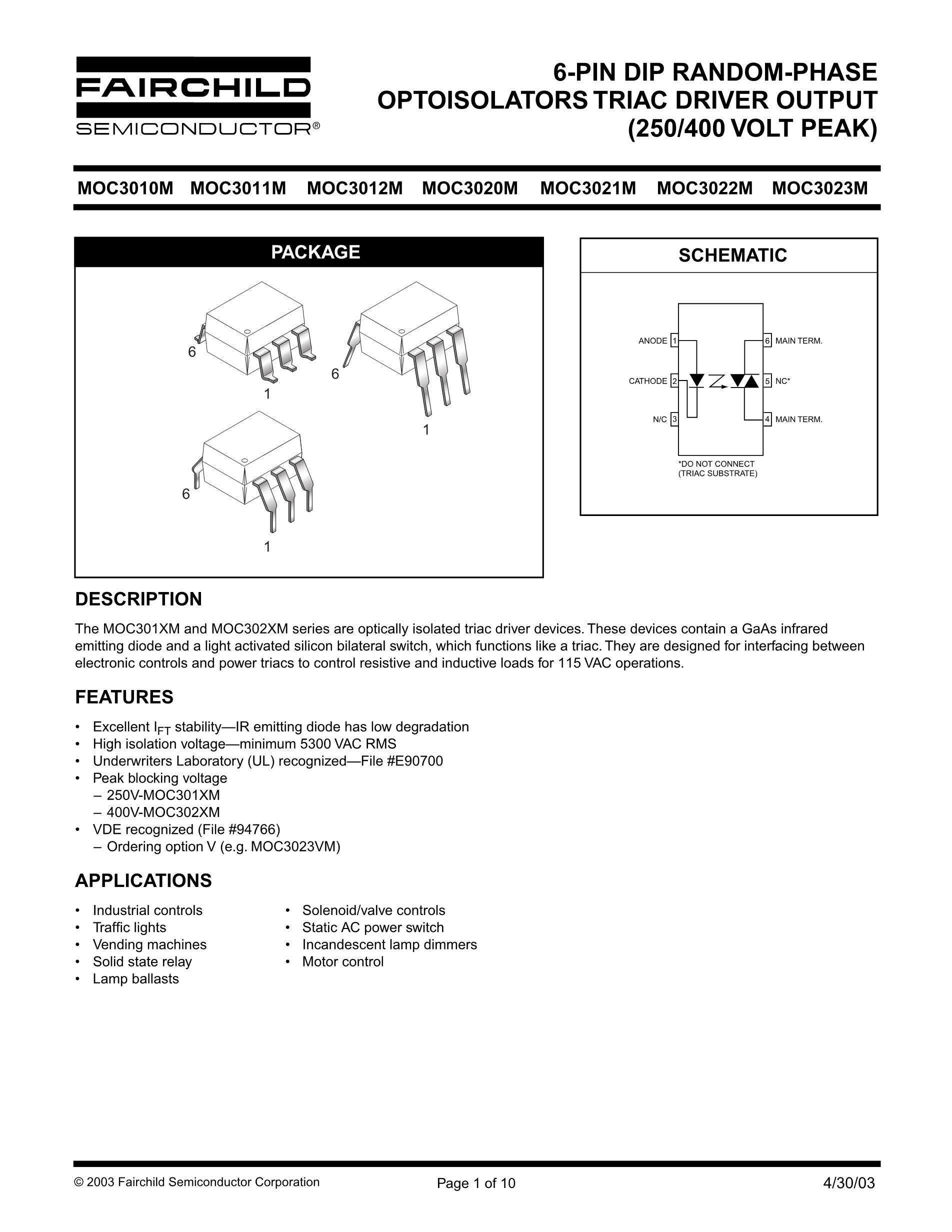 MOC3041M-NL's pdf picture 1