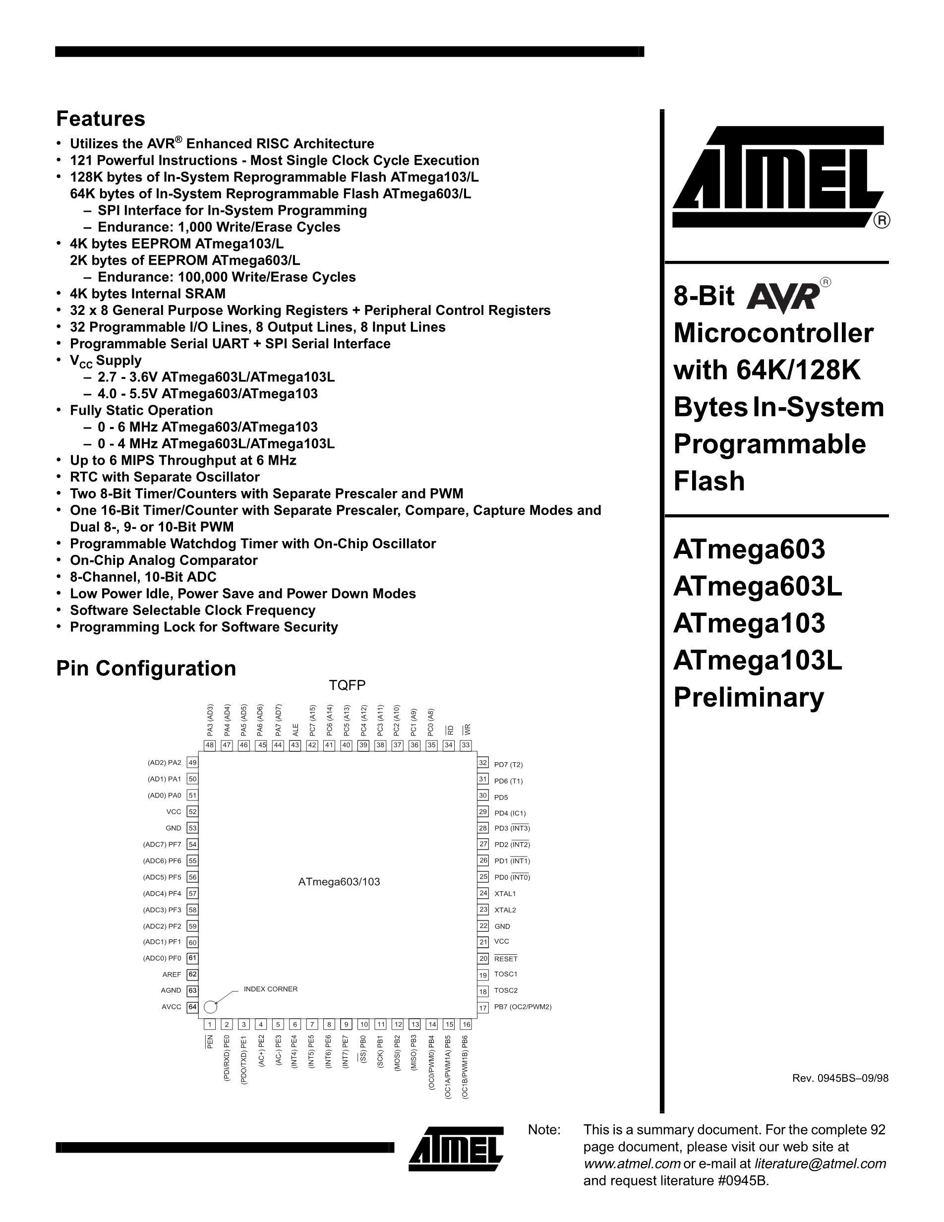 ATMEGA64L-8AQ's pdf picture 1