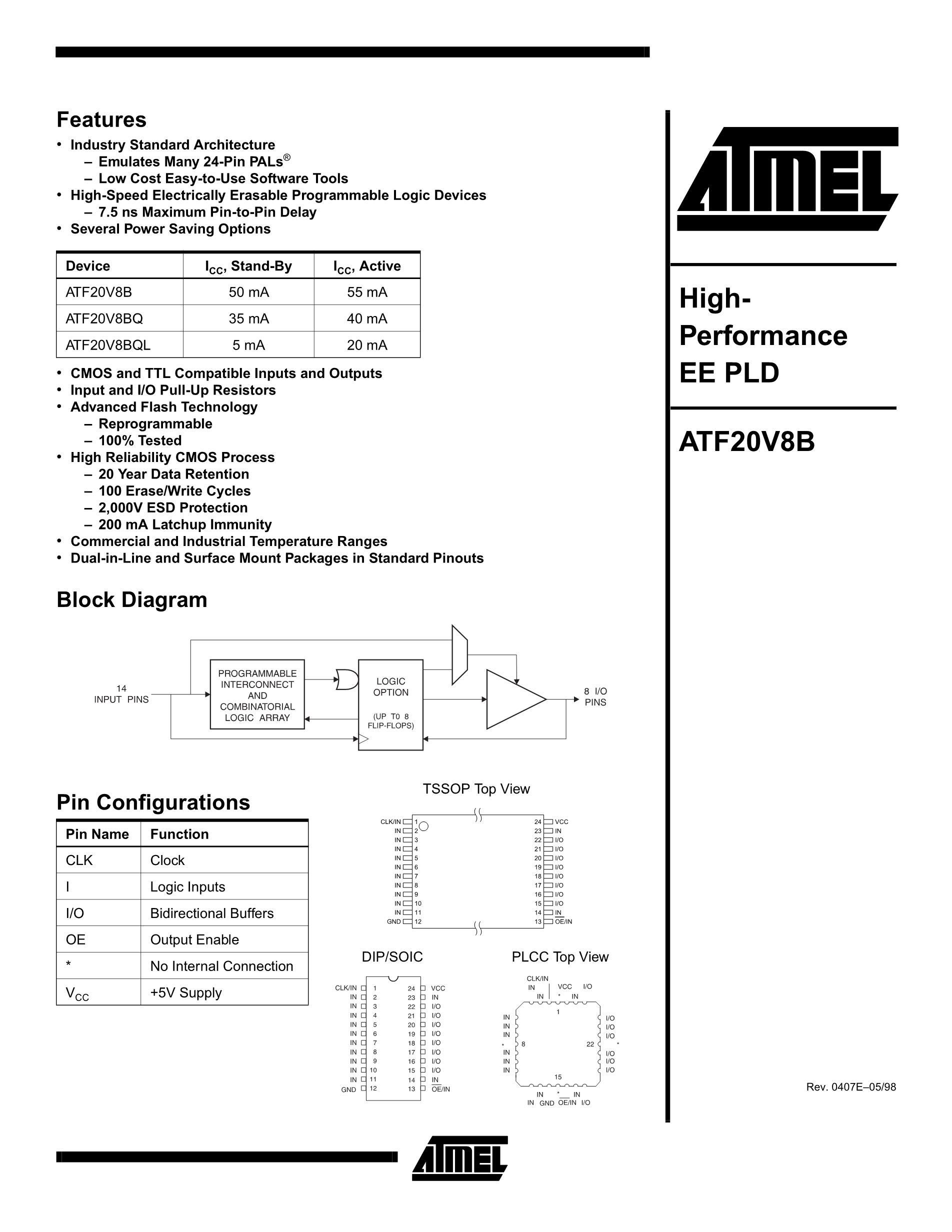 ATF22V10B-15PC's pdf picture 1