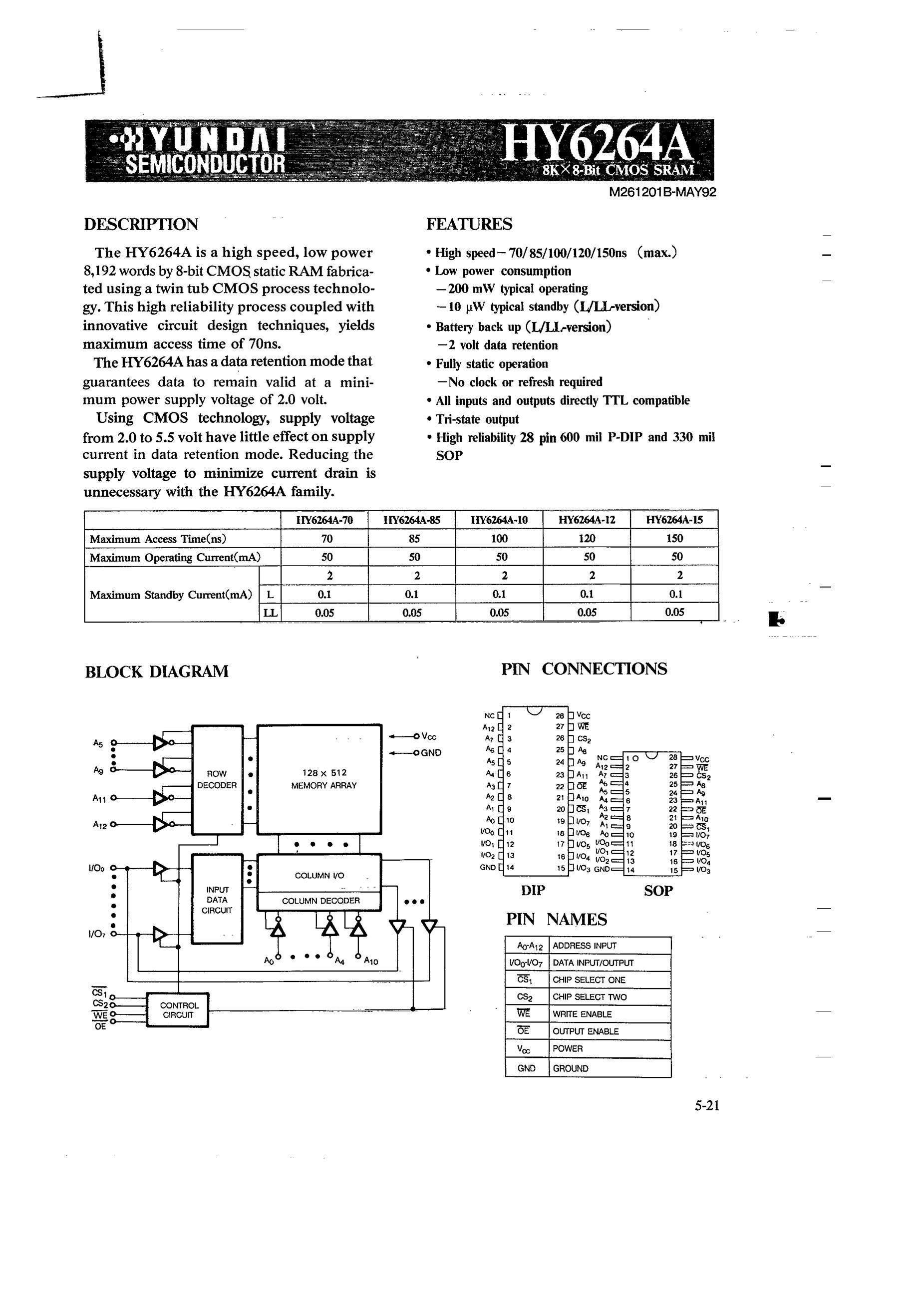 HY62V8400ALLT2-70's pdf picture 1