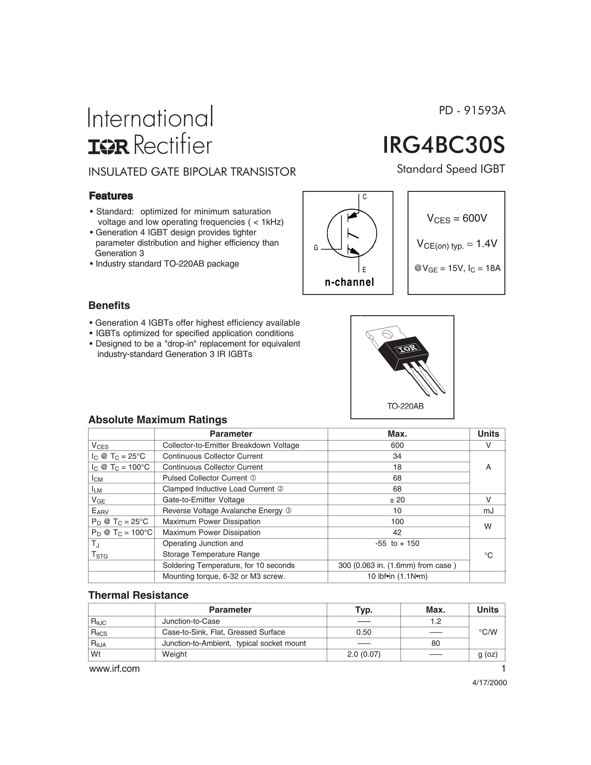 IRG4BC30KDPBF,IRG4BC30KD,G4BC30KD's pdf picture 1
