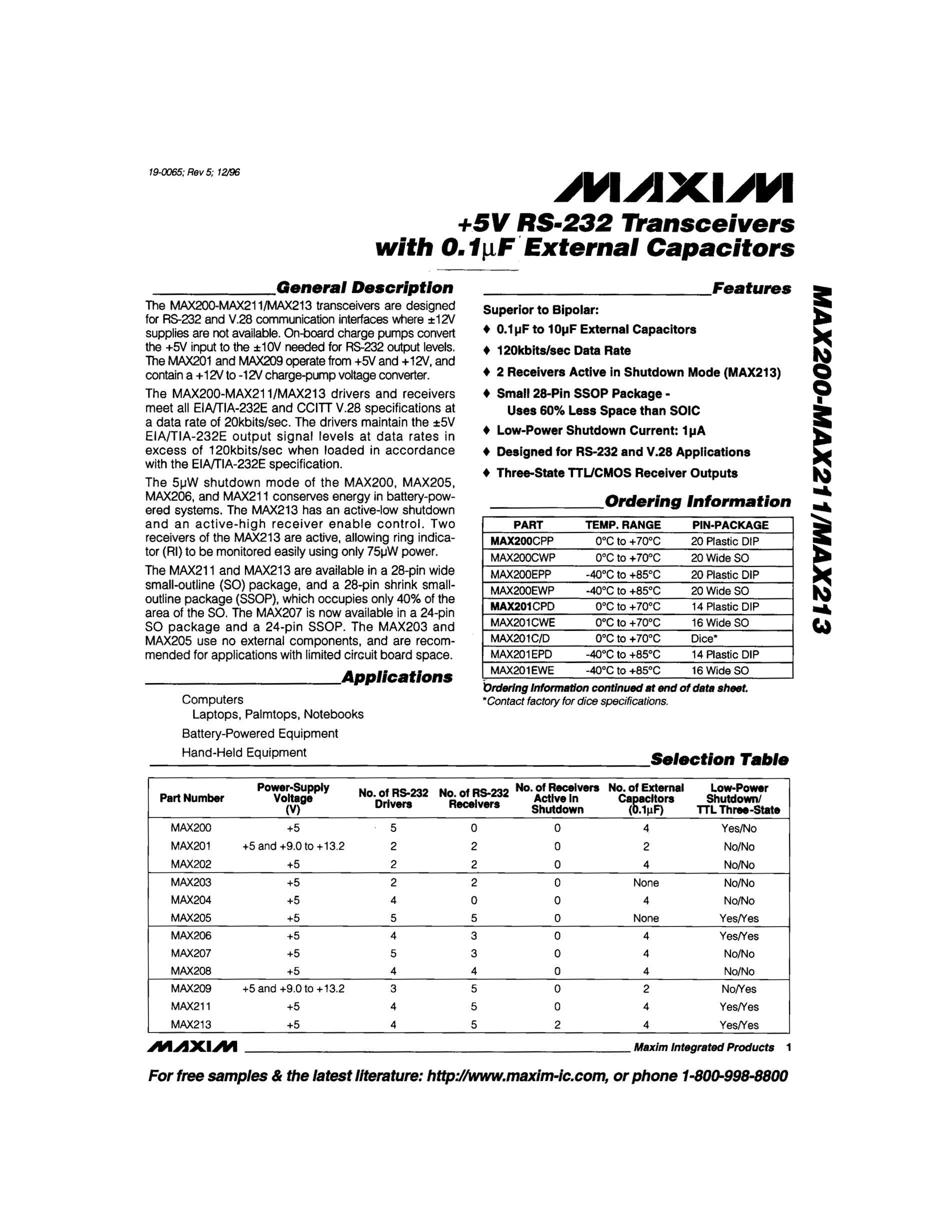 MAX207CWE's pdf picture 1
