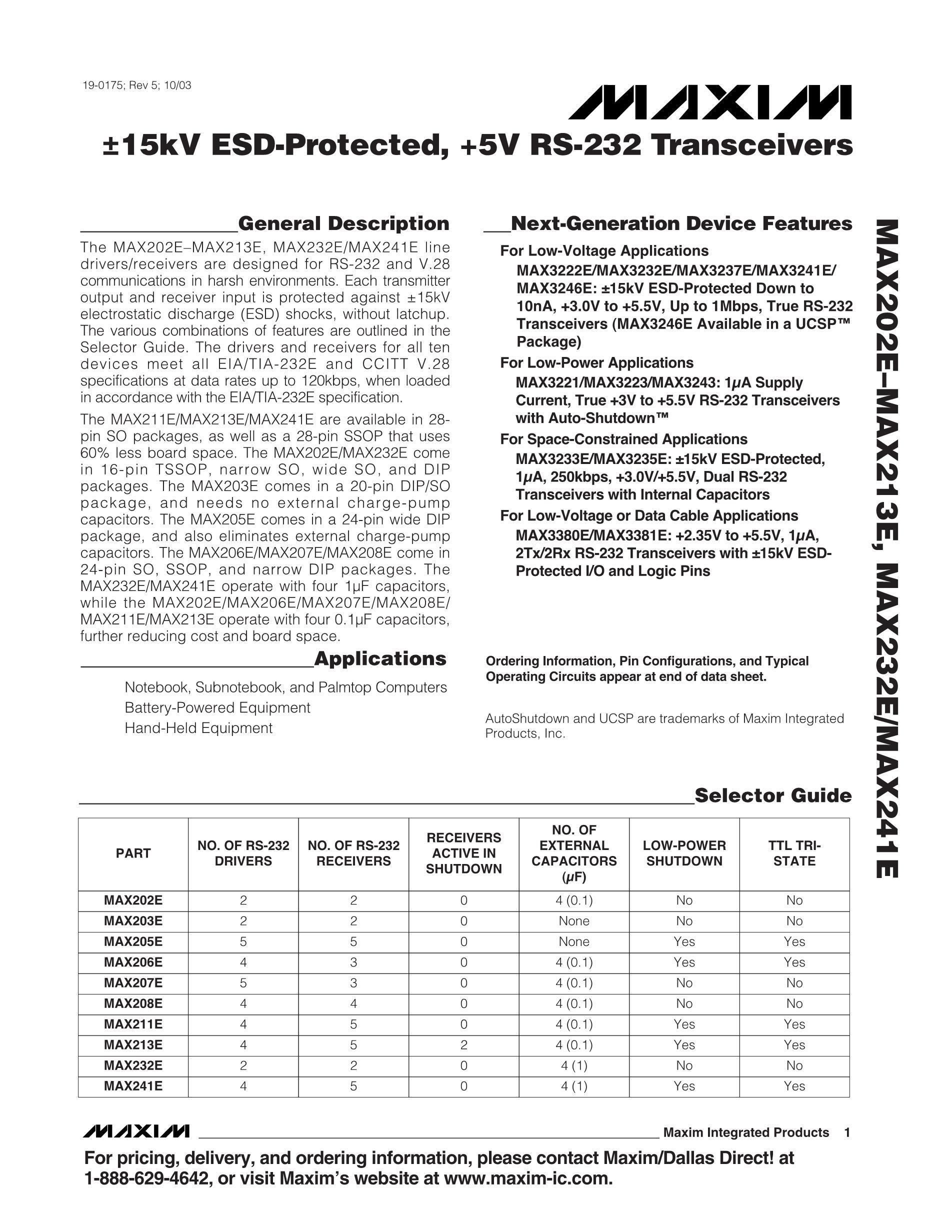 MAX202ECP's pdf picture 1