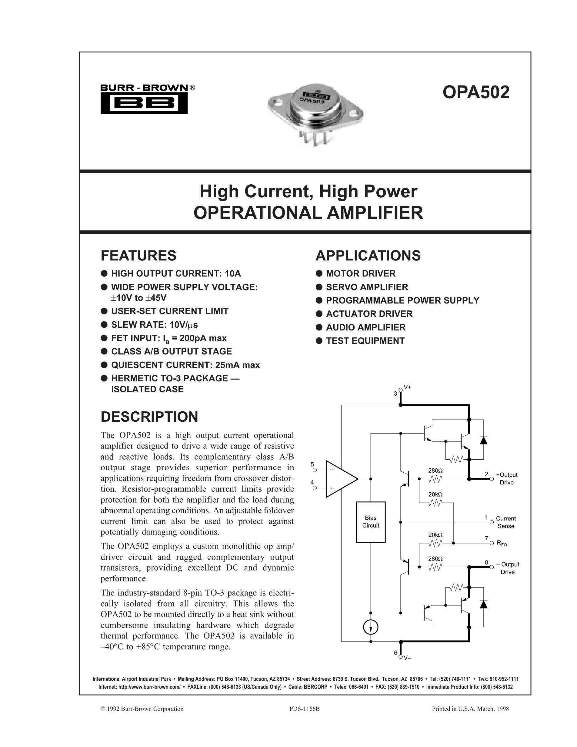 OPA551FA's pdf picture 1