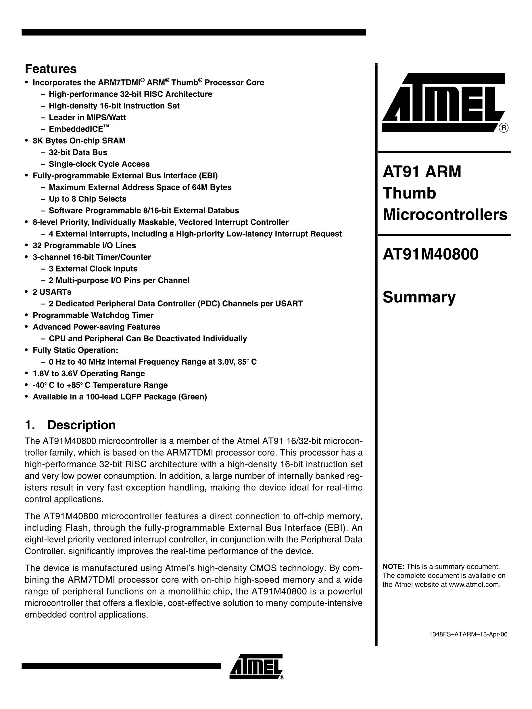 AT91M42800A-33AU's pdf picture 1