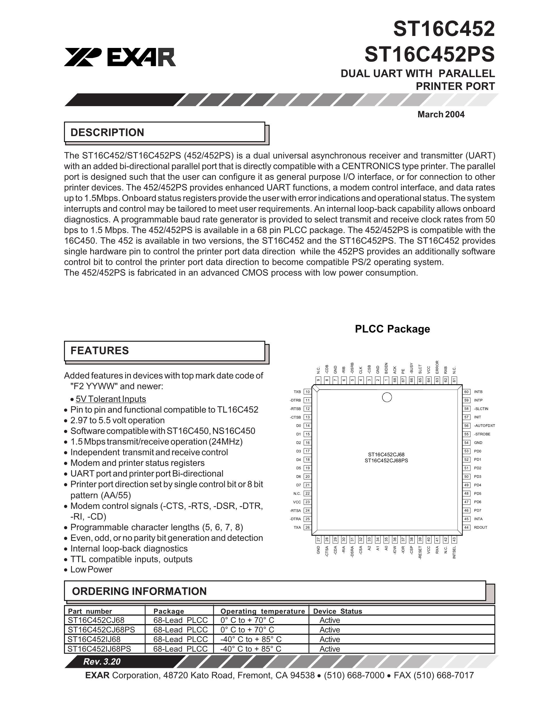 ST16C550CJ44-F's pdf picture 1