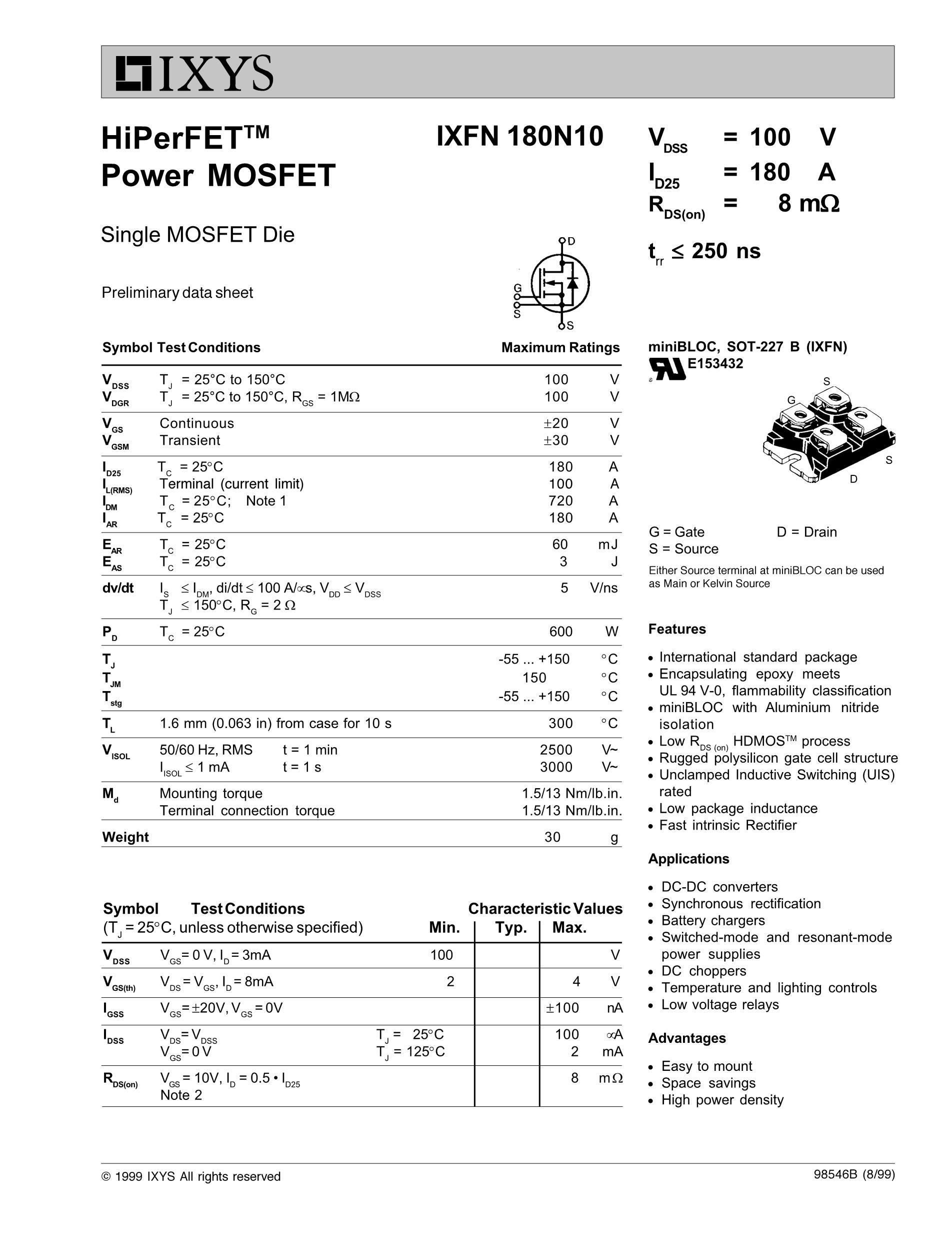 IXFN150N10's pdf picture 1