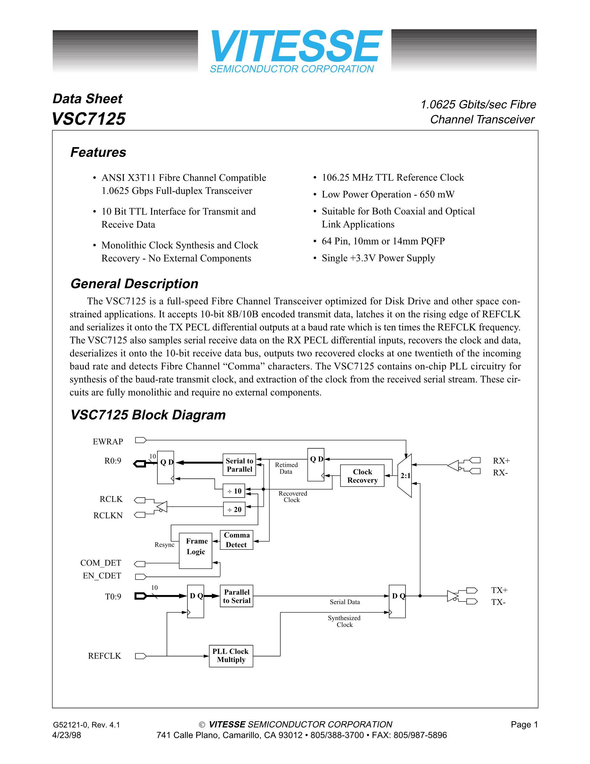 VSC7142RC's pdf picture 1
