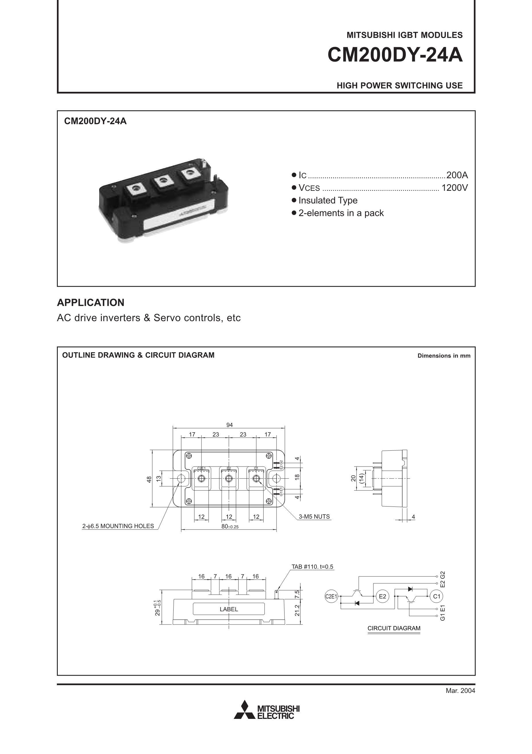 CM200DY-24A MITSUBISHI's pdf picture 1