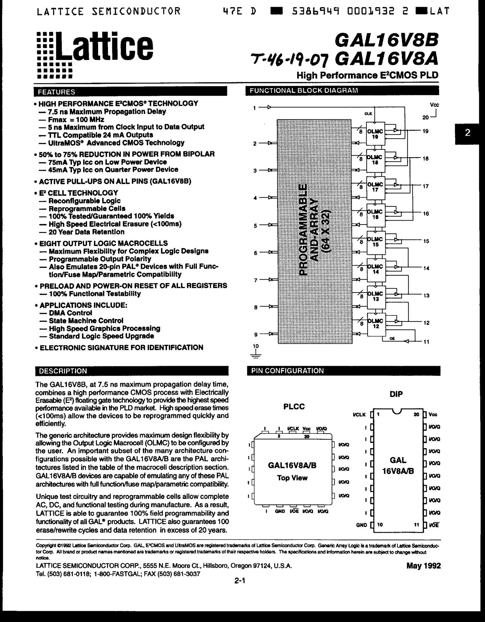 GAL16V8D-15LPI's pdf picture 1
